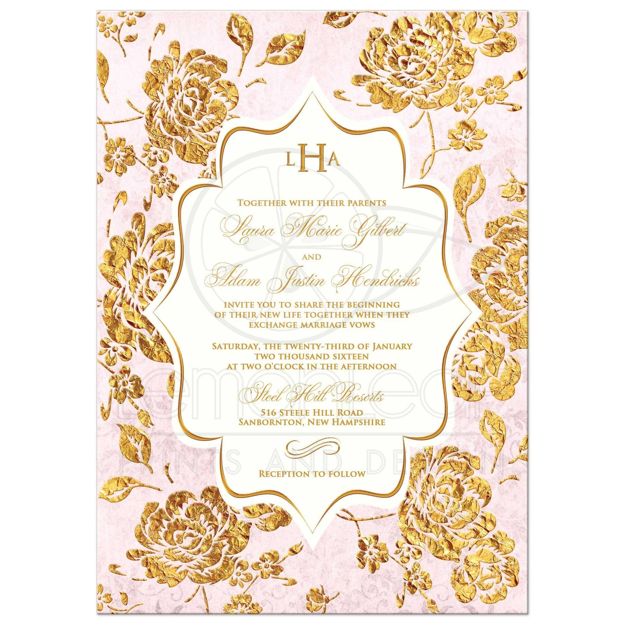 Wedding invitation vintage floral blush pink ivory gold leaf best blush pink ivory and gold floral wedding invitation stopboris Images