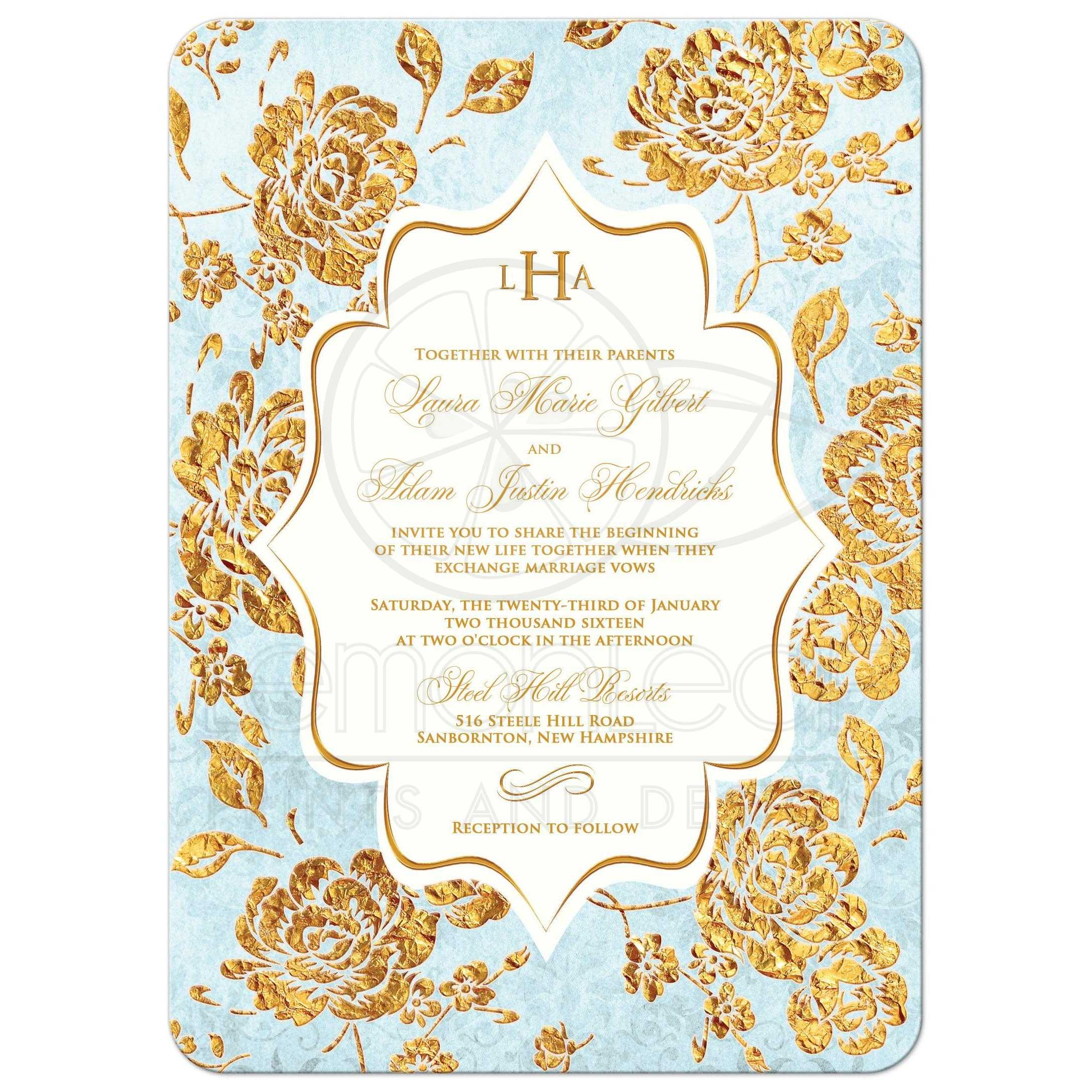 Wedding Invitation Vintage Floral Blue Ivory Gold
