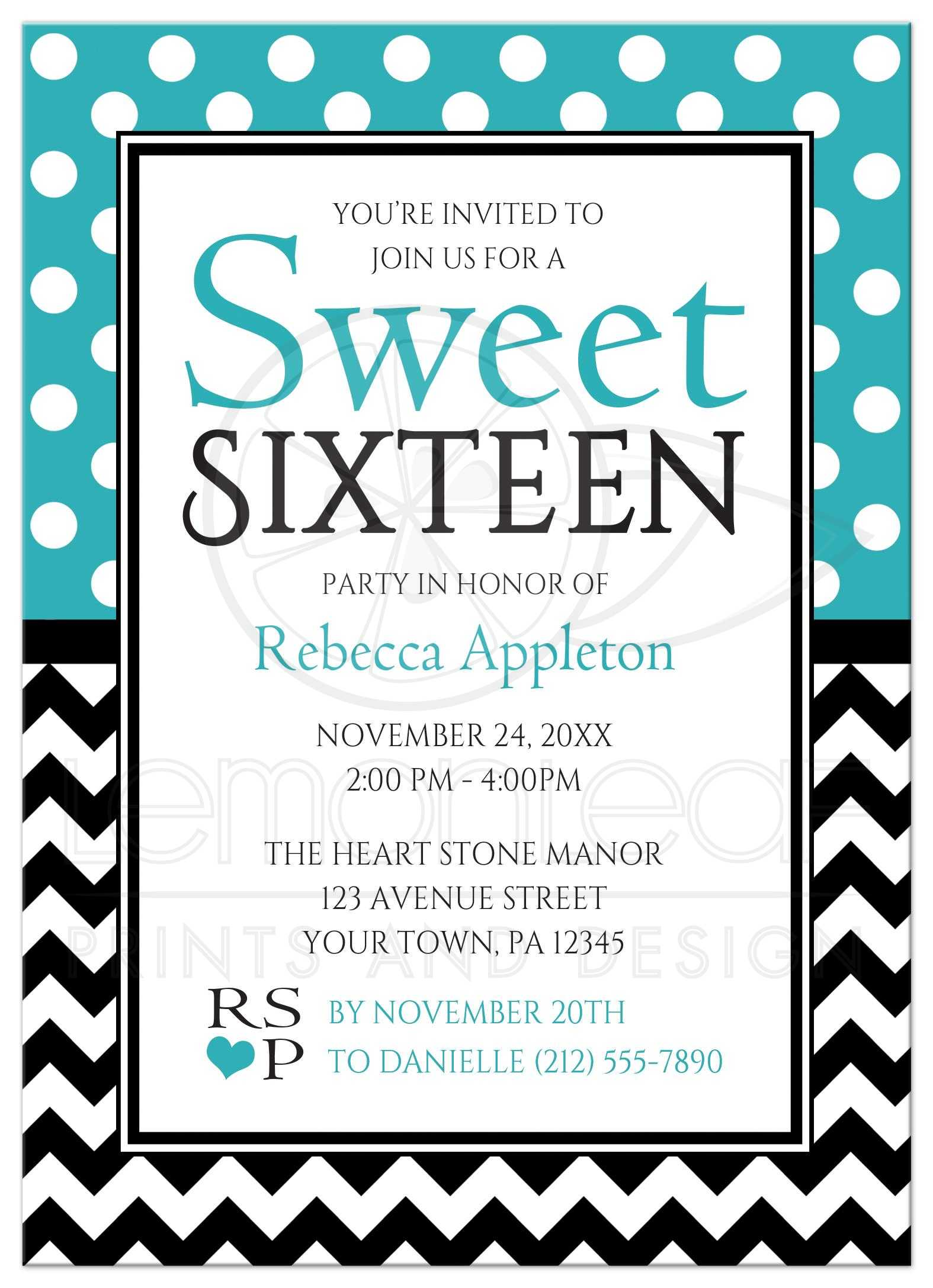 sweet 16 invitations polka dot turquoise chevron