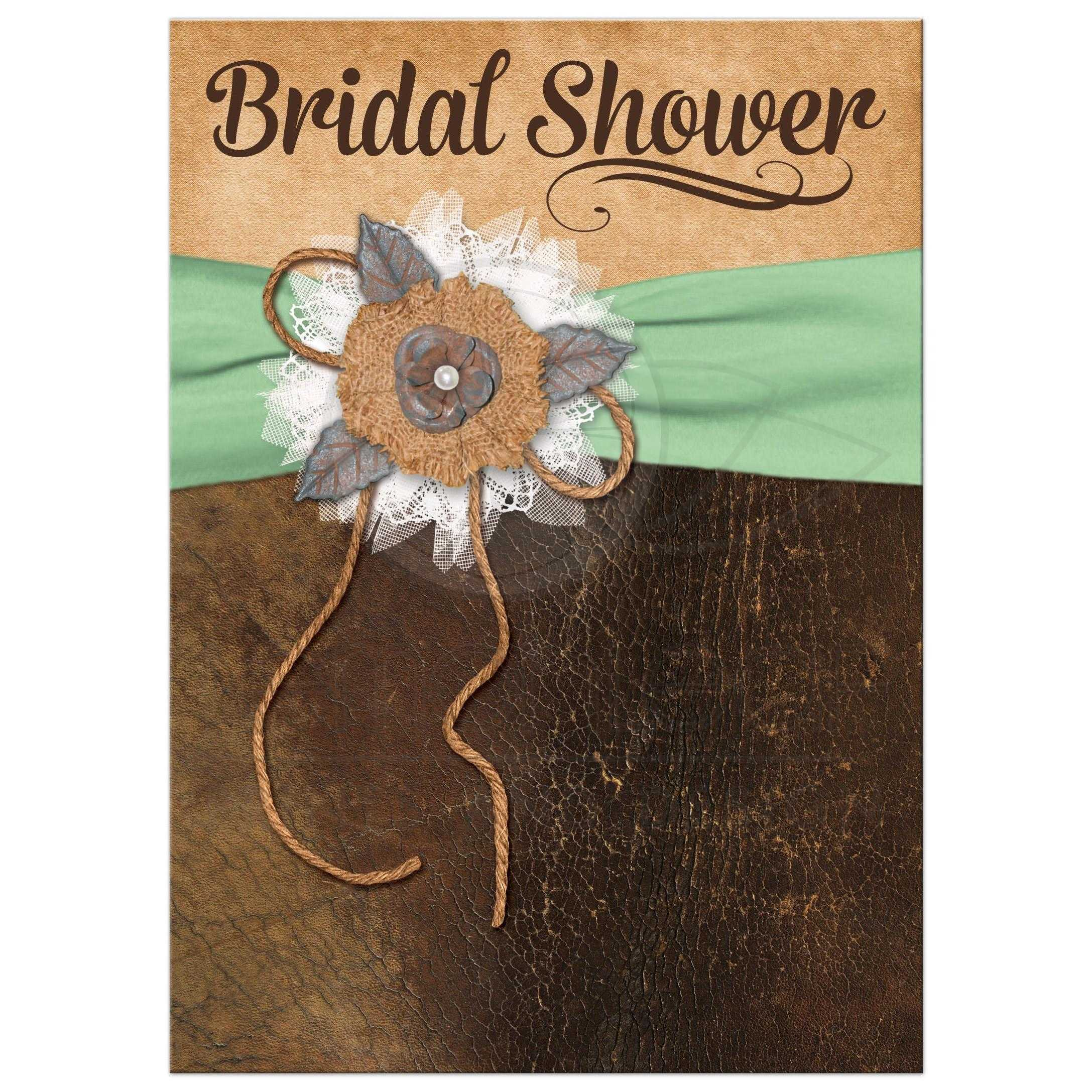 Great Shabby Chic Mint Green And Brown Bridal Shower Invitation With Burlap Leather Linen