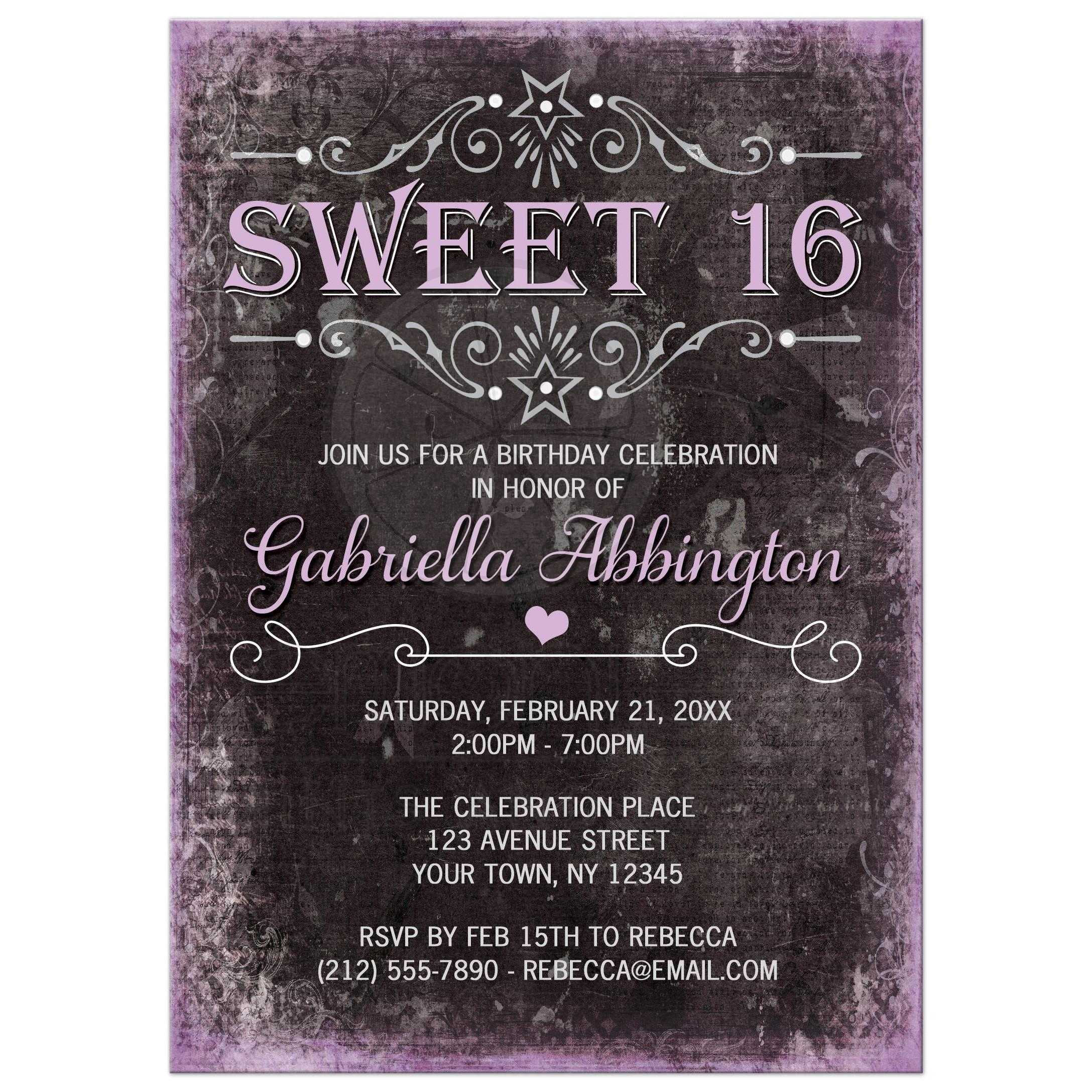 sweet 16 invitations black grunge purple