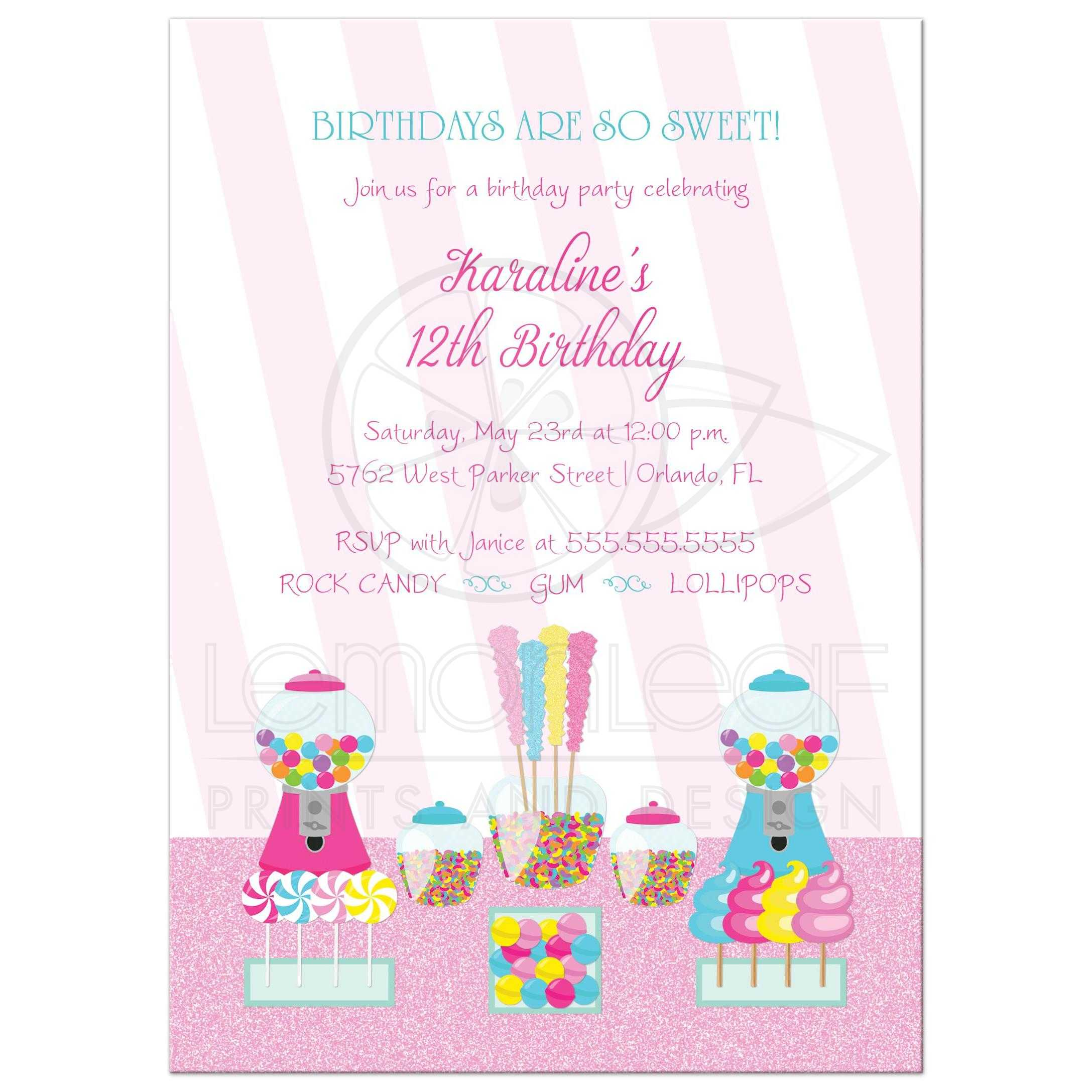 Birthday Party Invitation - Girl\'s Pink Candy Buffet Theme
