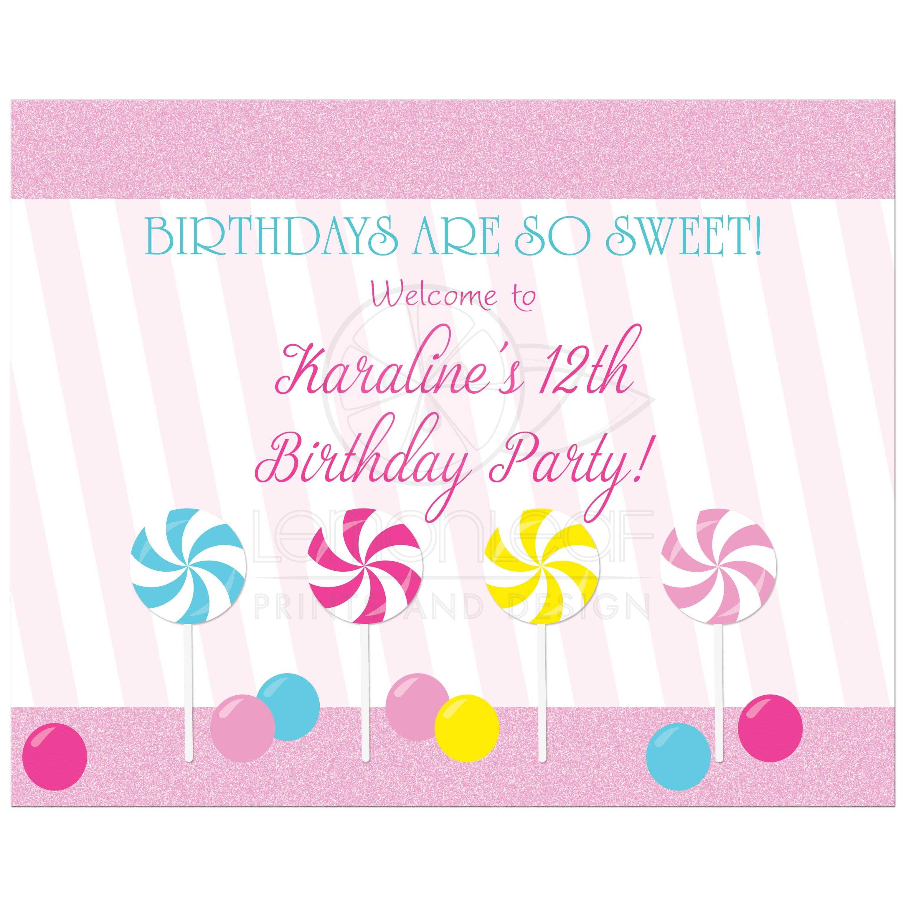 Birthday Party Sign - Pink Sweet Candy Lollipop Buffet