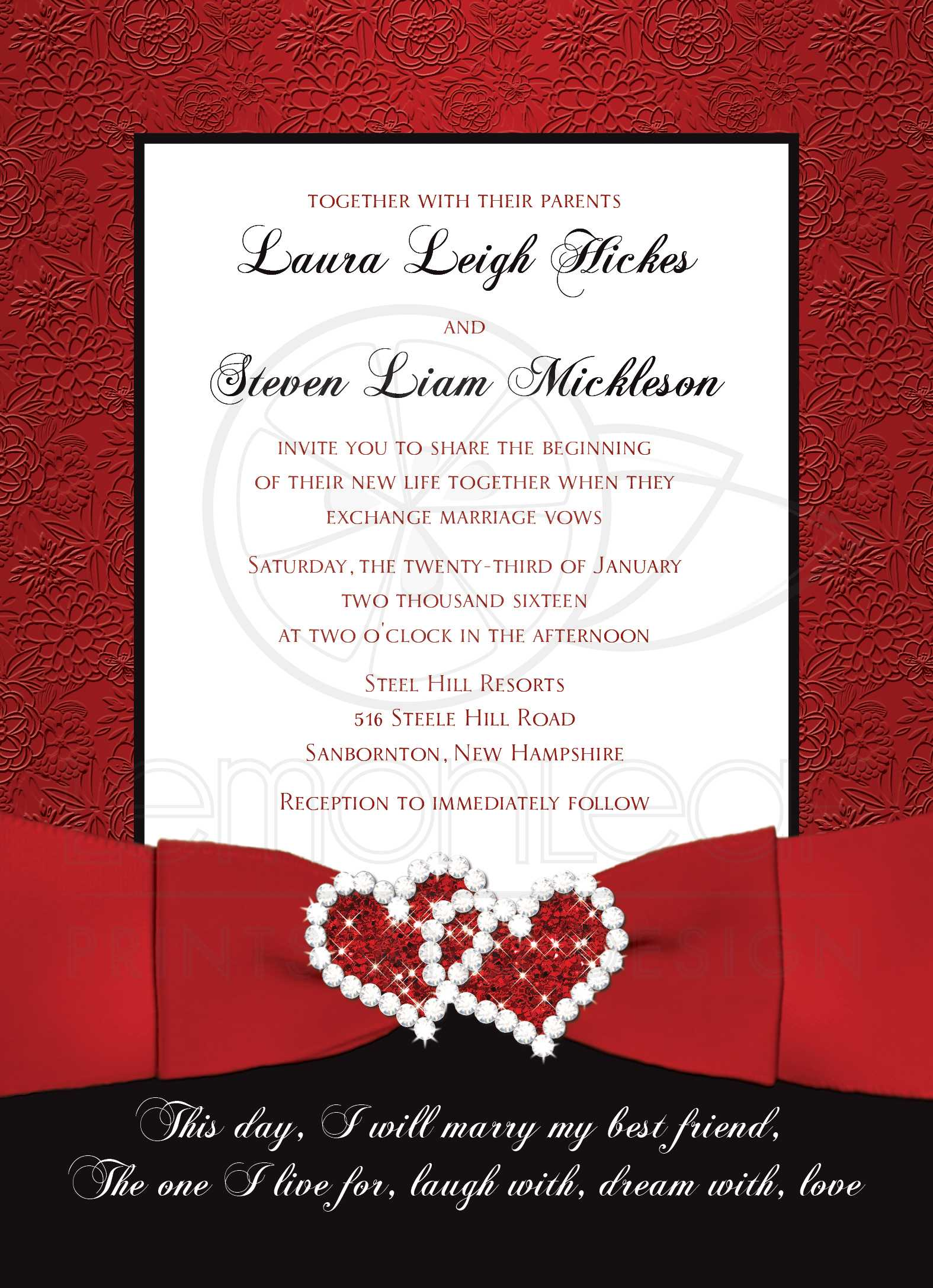 Wedding Invitation | Red, Black, White Floral | Printed Ribbon