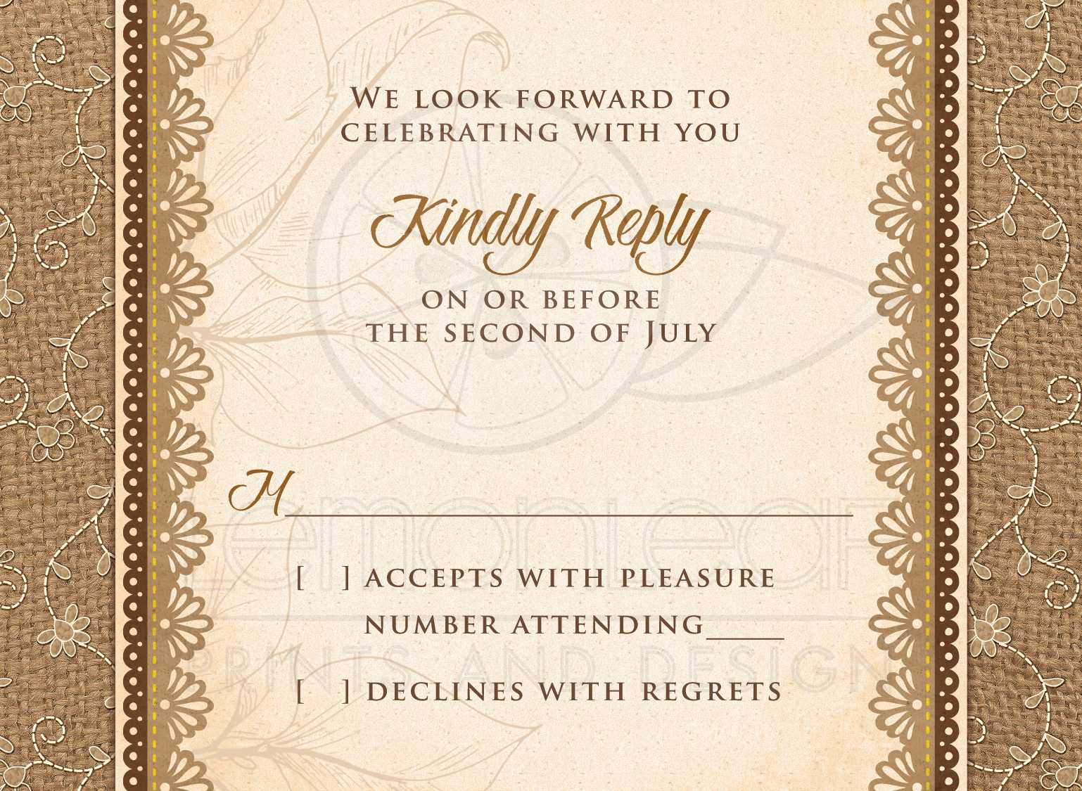 Wedding RSVP Card Rustic Burlap Lace Wood