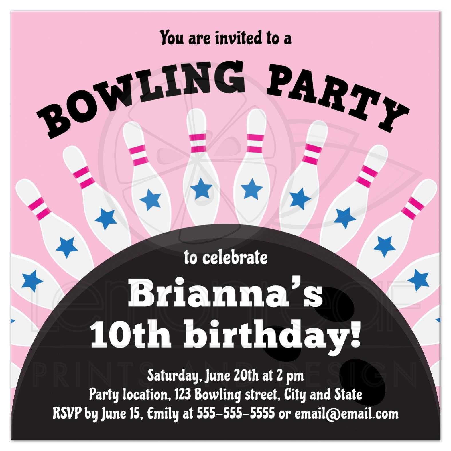 bowling birthday party invite for girls pins standing on top of ball