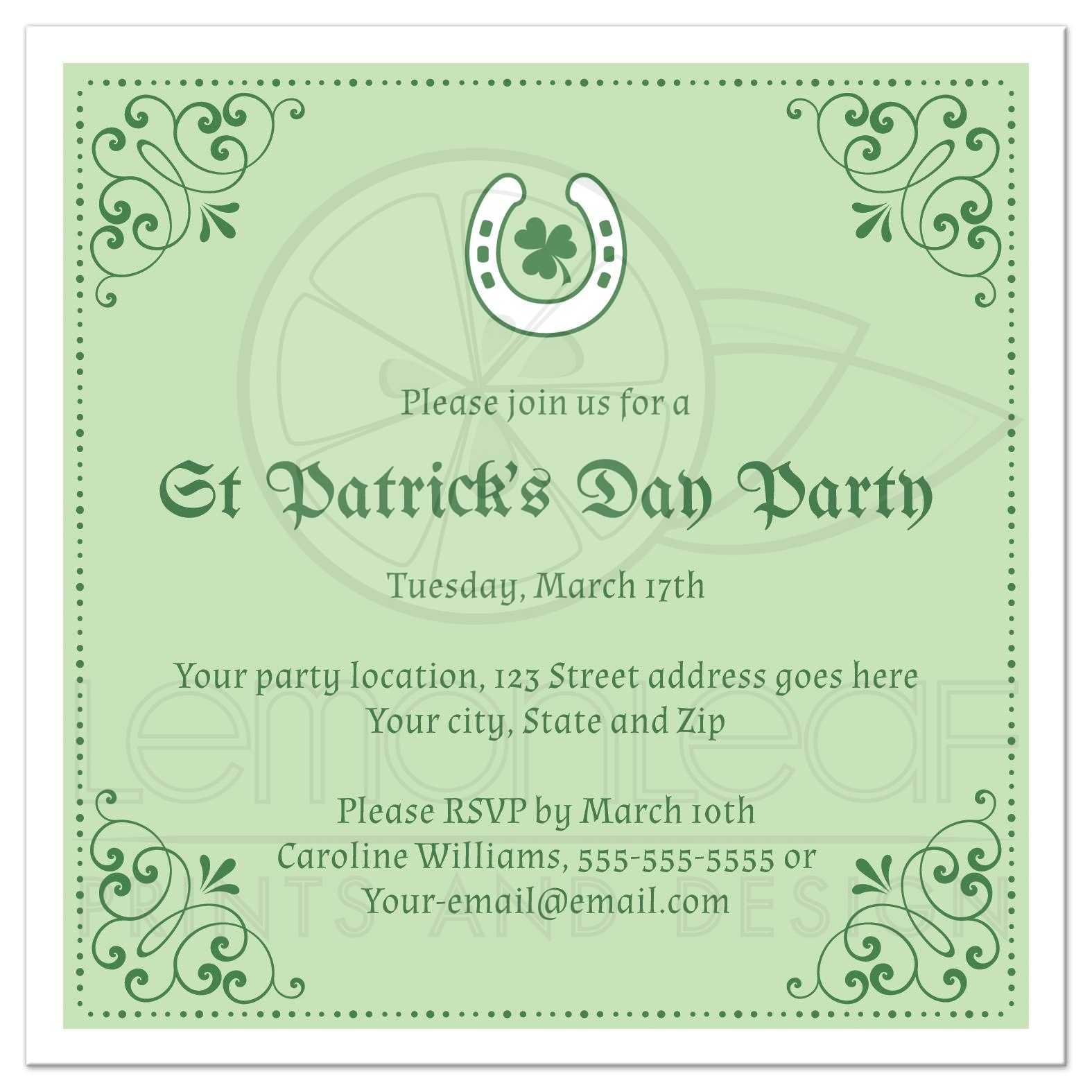 Elegant St Patrick\'s day party invite, shamrock inside lucky horseshoe