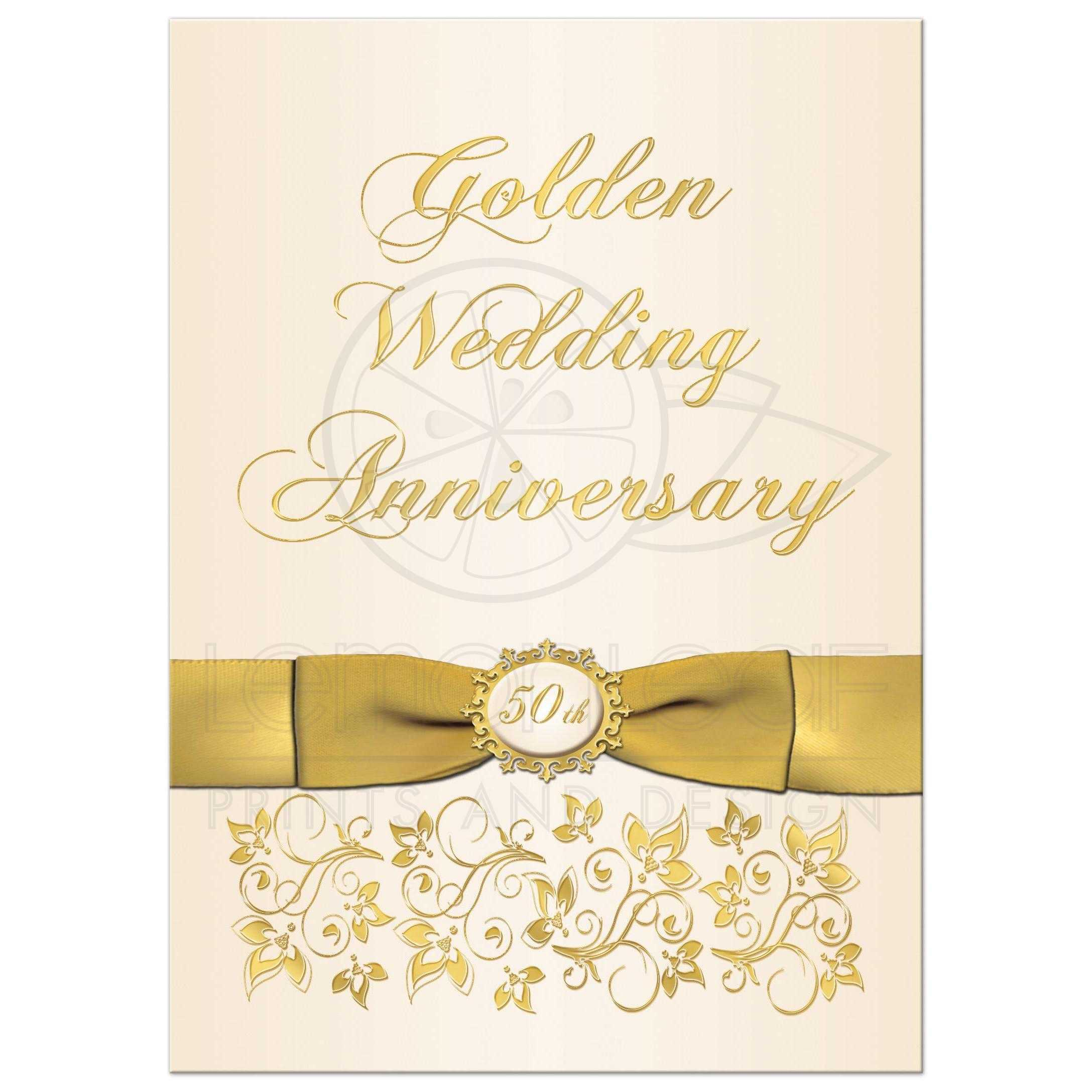 50th Wedding Anniversary Invitation | Ivory and Gold Floral ...