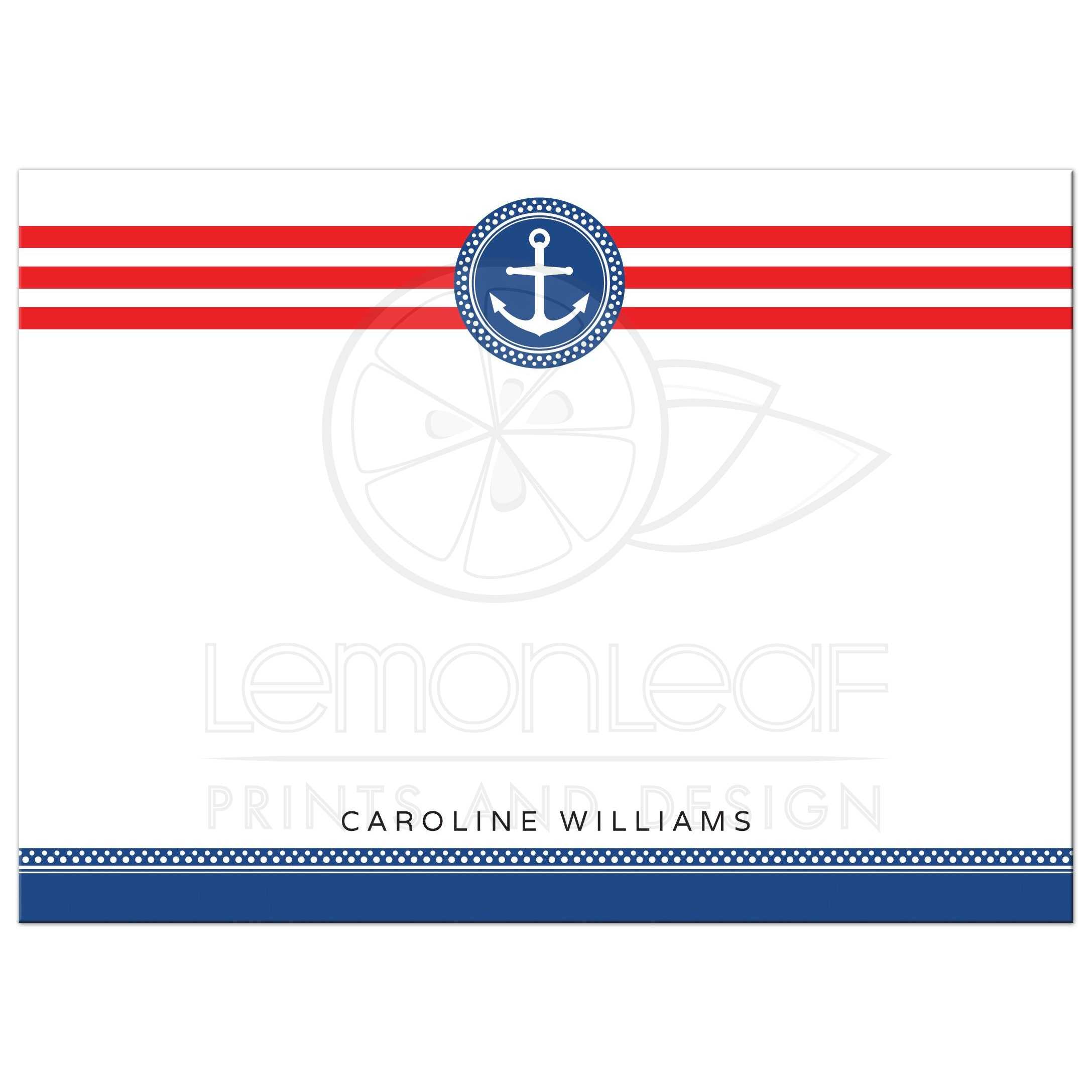 flat personalized note card with navy blue anchor emblem and red stripes - Personalized Flat Note Cards