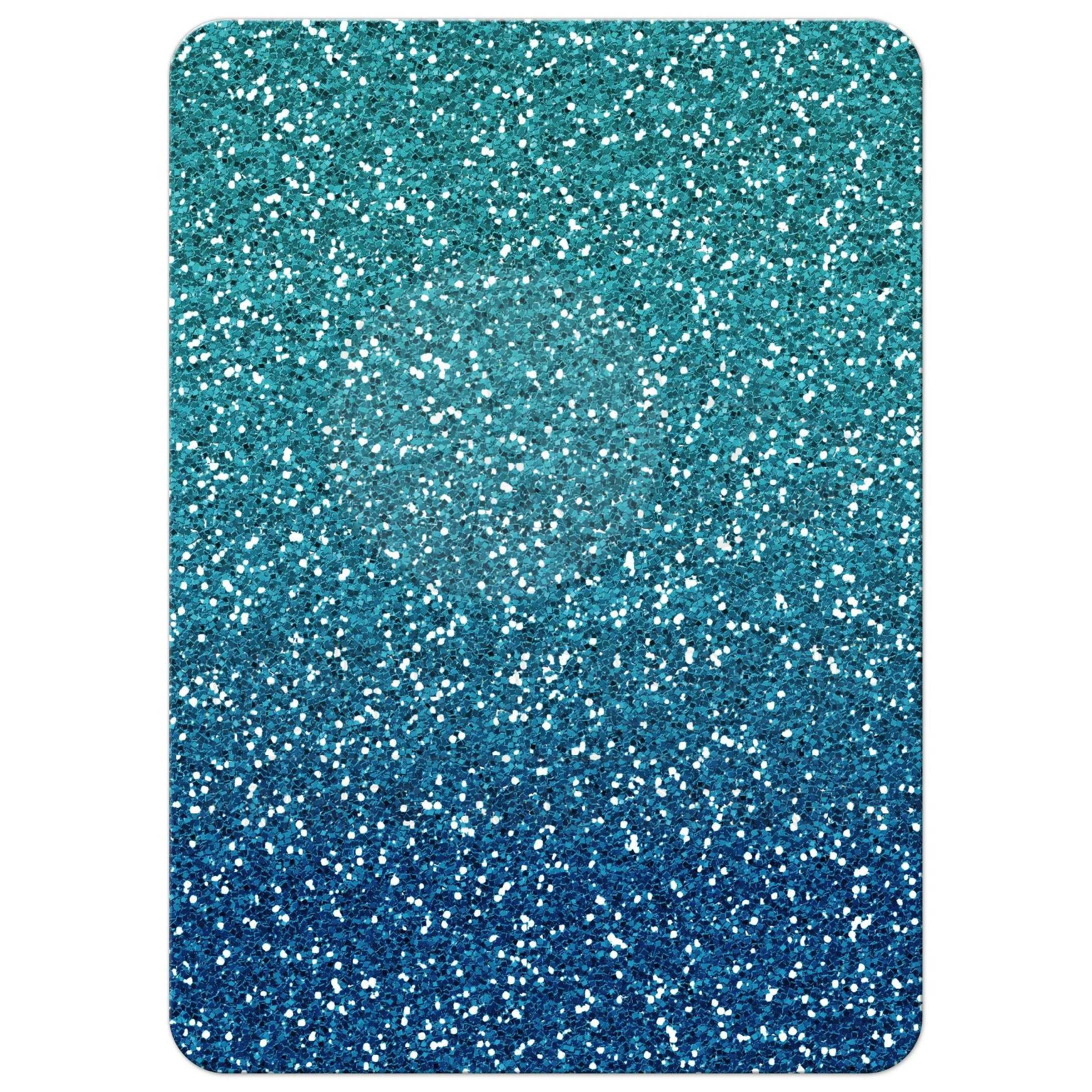 Sweet 16 Party Invitation - Turquoise Blue Ombre Glitter Stripes