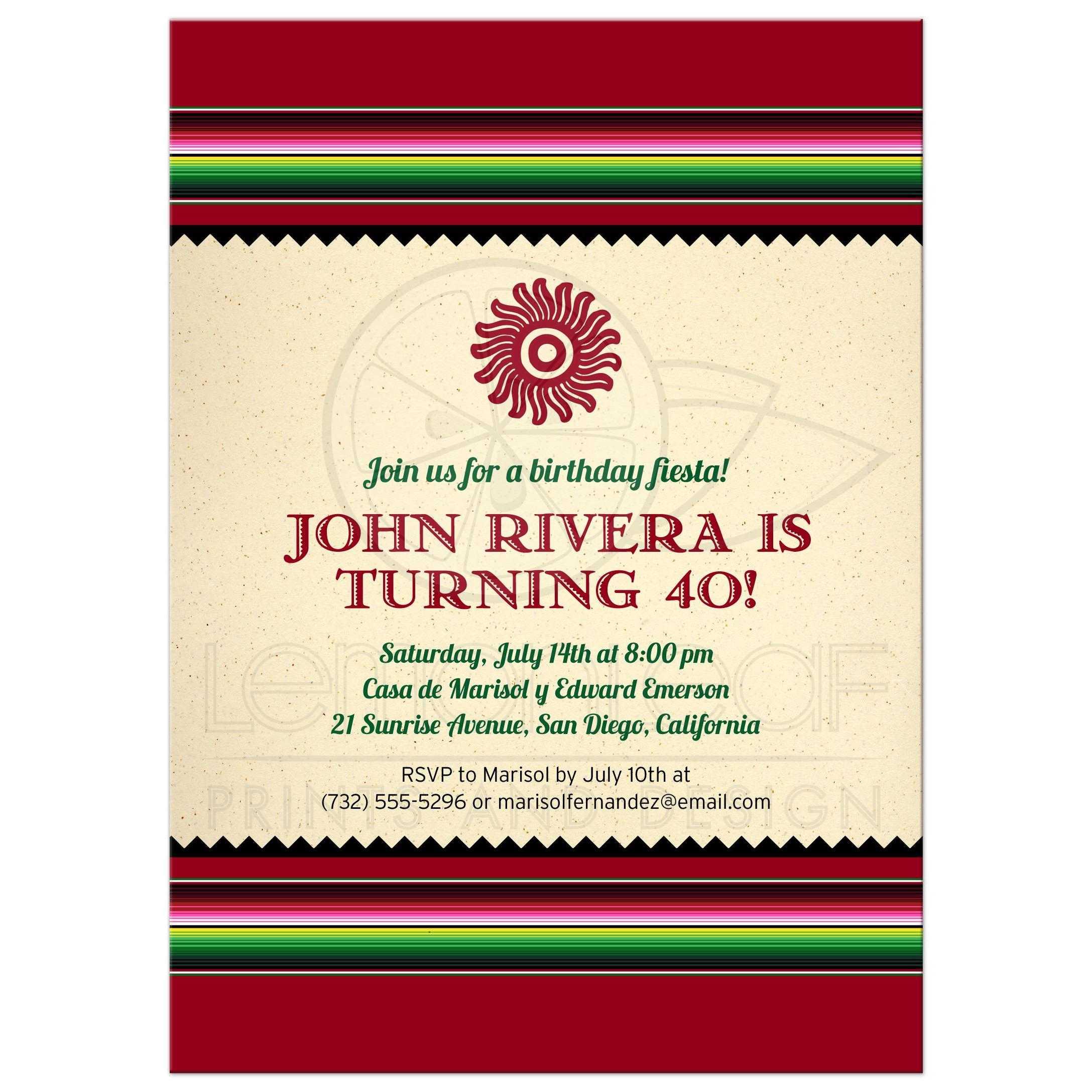 Fiesta Party Invitation - Cinco de Mayo Mexican Serape Blanket