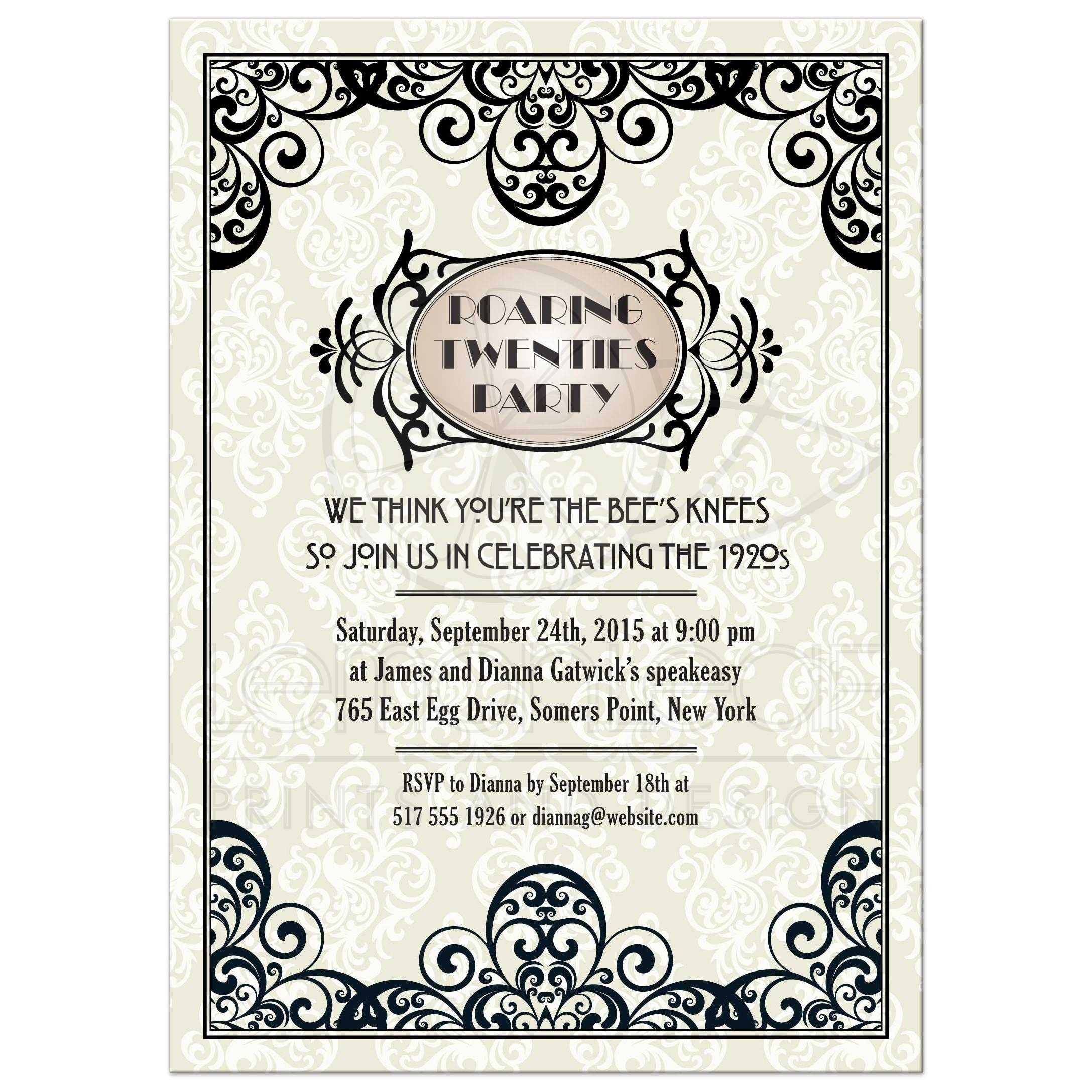 Party Invitation - Art Deco Damask Roaring Twenties Gatsby