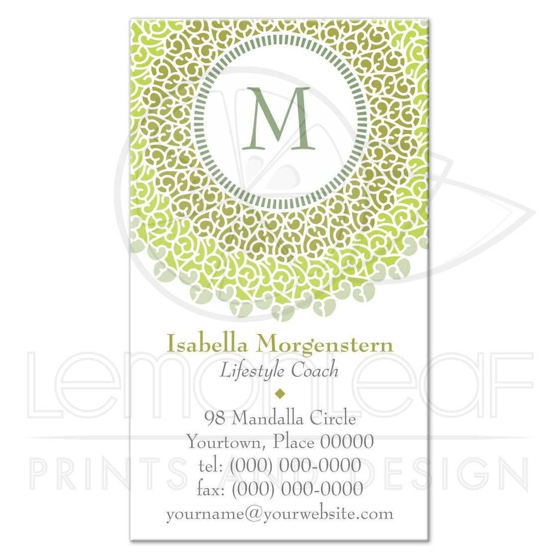 Business Card - Concentric Green Tonal Monogram Rosette