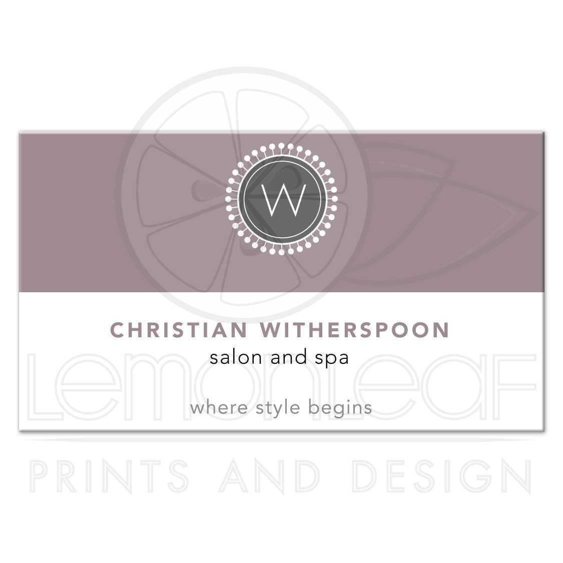 Business Card - Modern Monogram Purple Aesthetic