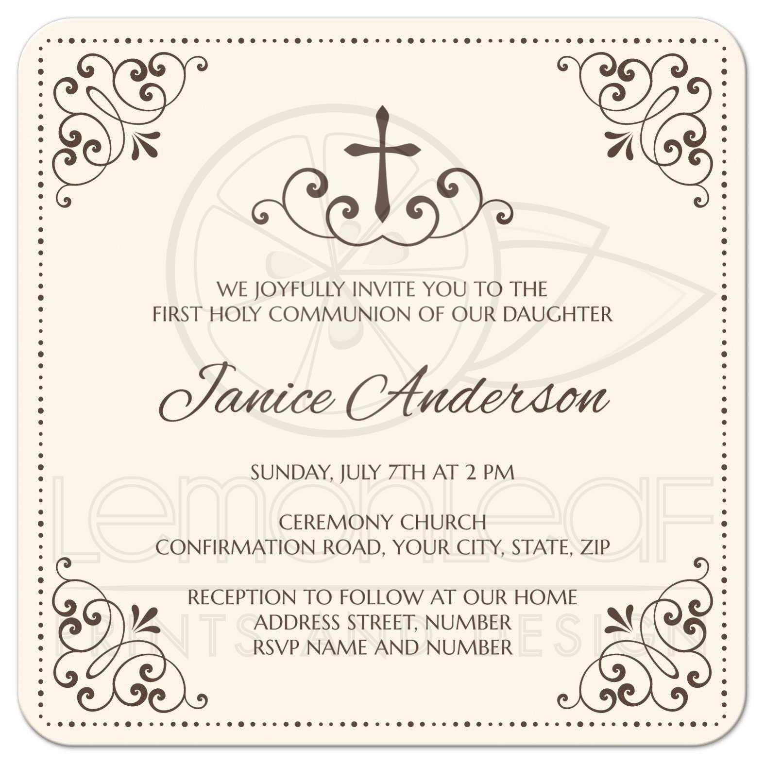 Cream And Brown First Holy Communion Or Confirmation Invitation