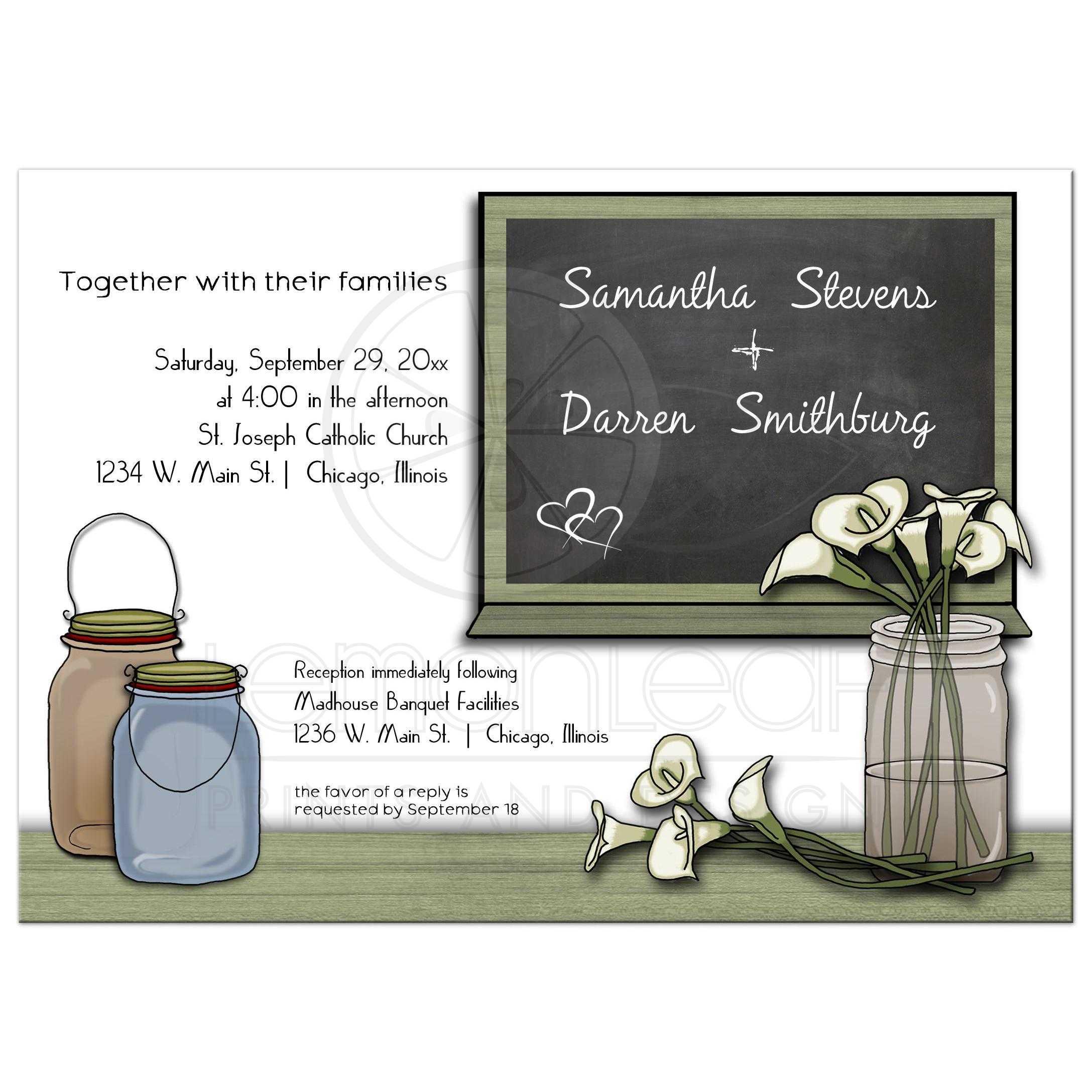 Cally Lily Chalkboard and Mason Jar Wedding Invitation