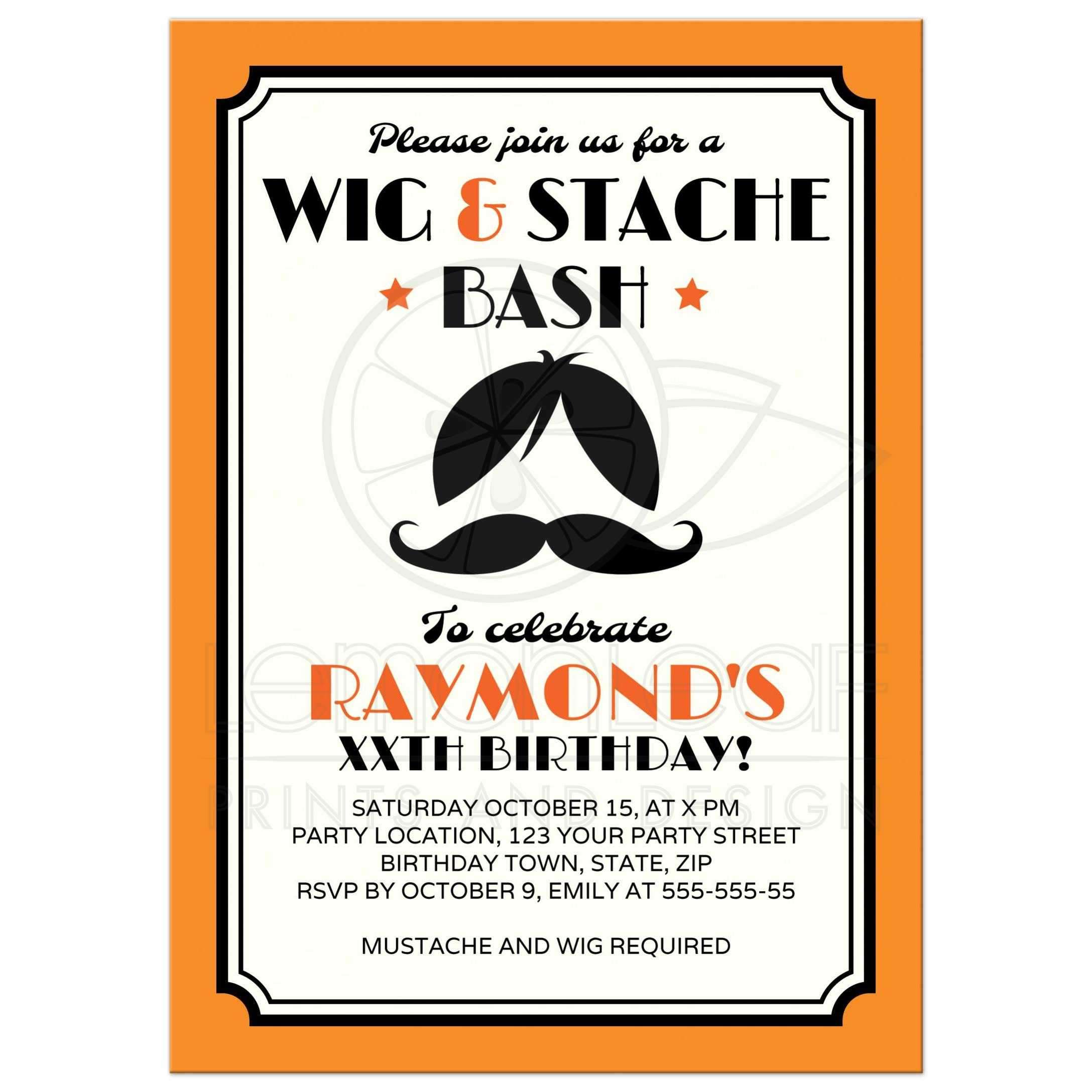 Retro wig and mustache bash birthday party invitation - orange, black