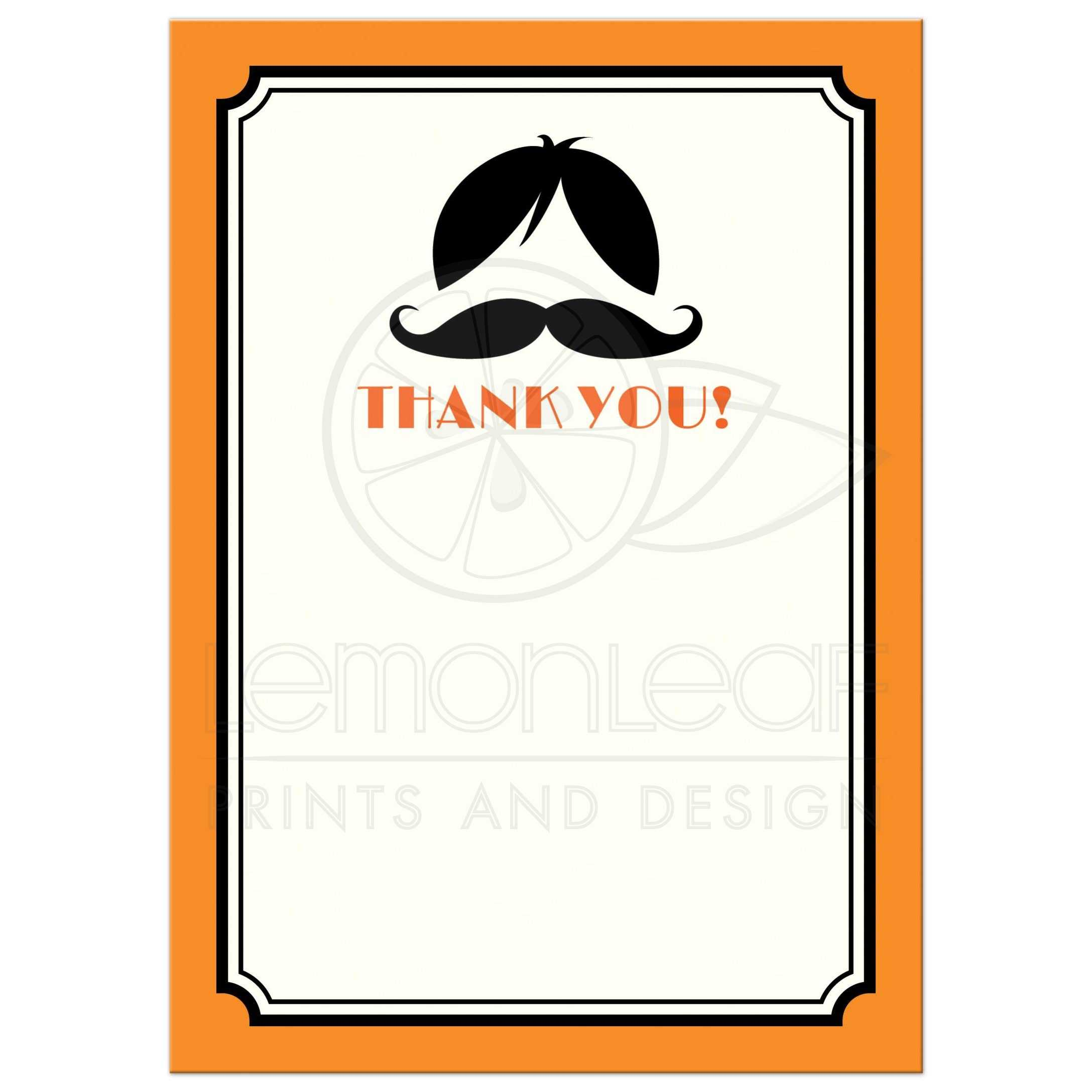 Wig and mustache bash flat thank you note card in orange and black