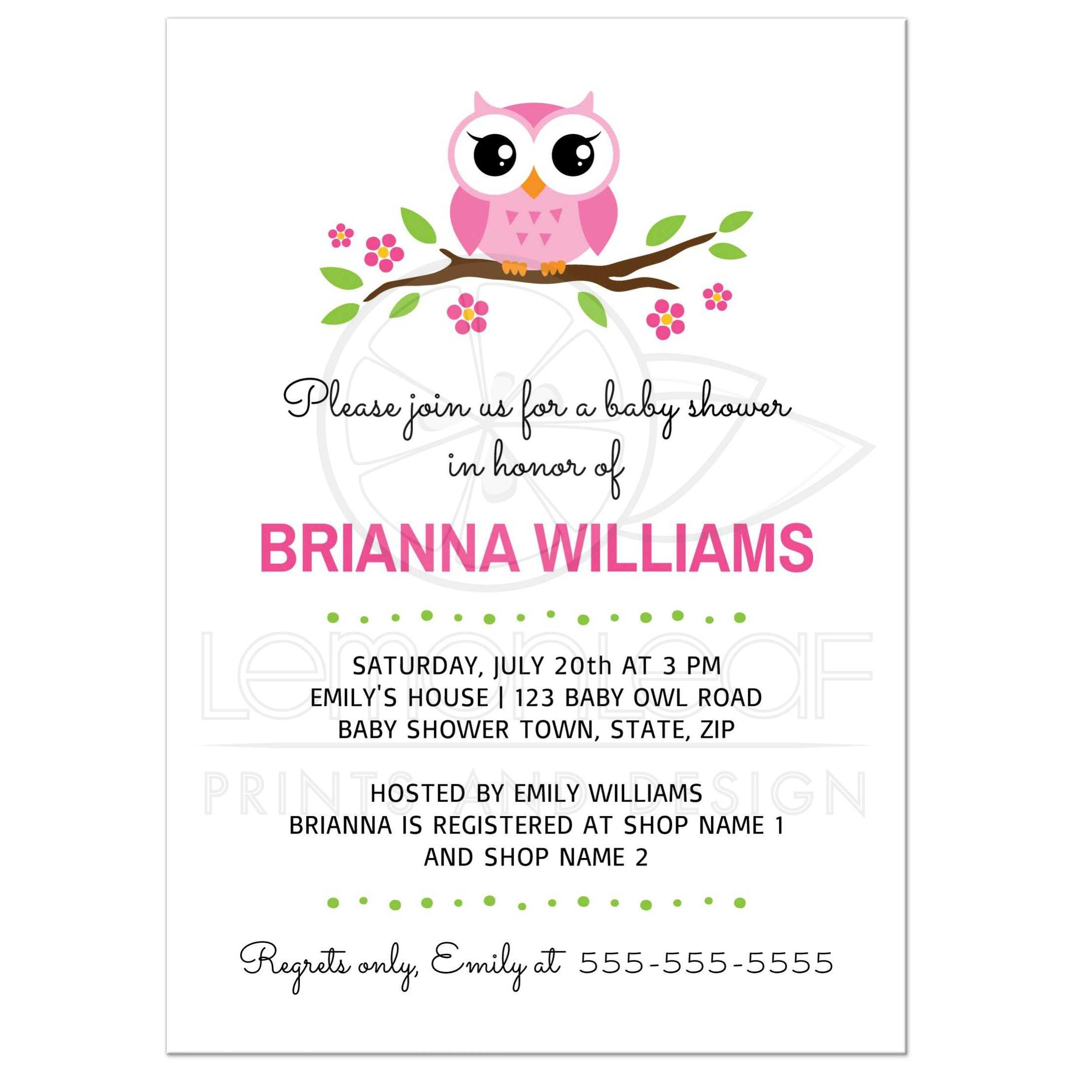 Cute Baby Shower Invite With Cartoon Owl
