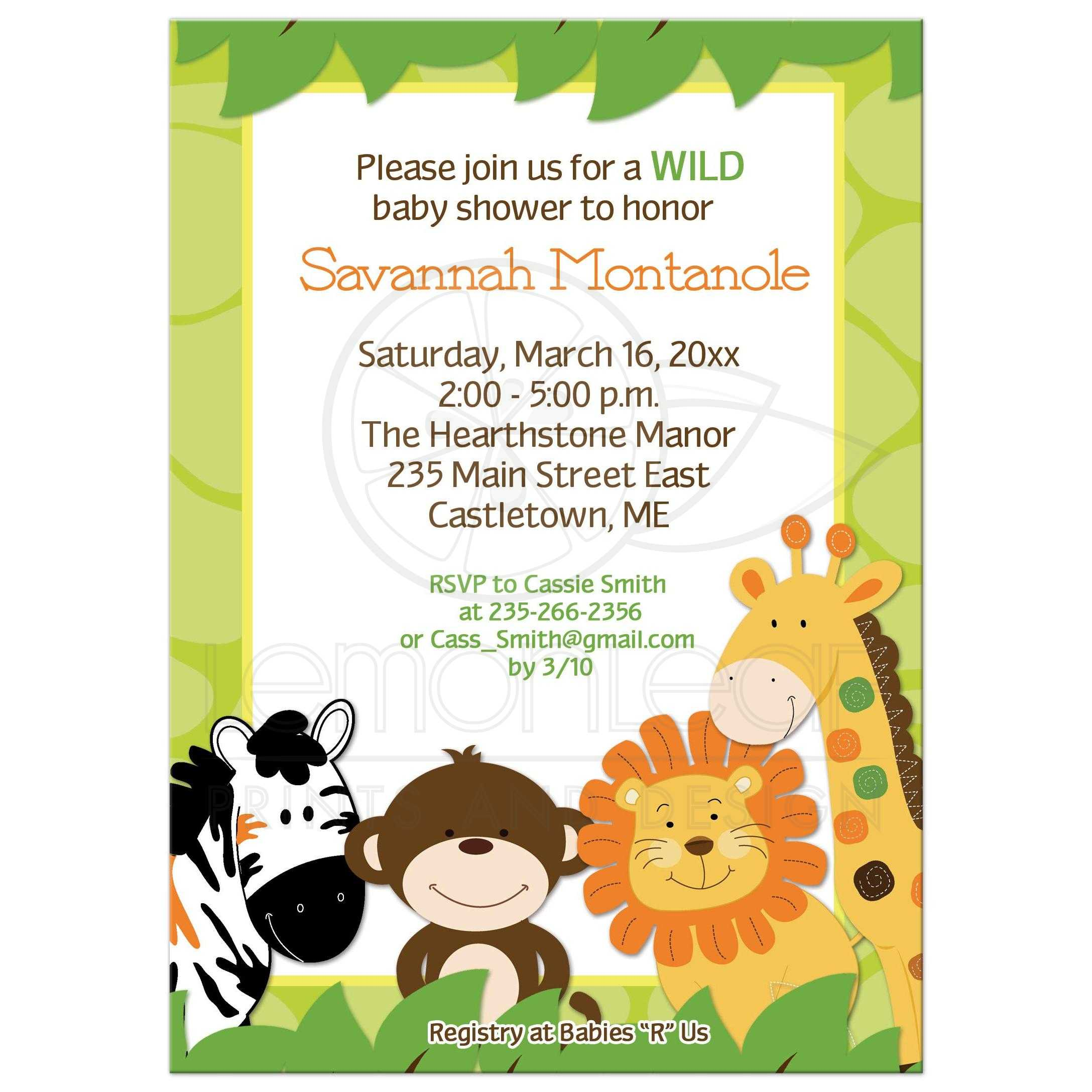 Bright Jungle Safari Animals Baby Shower Invitation