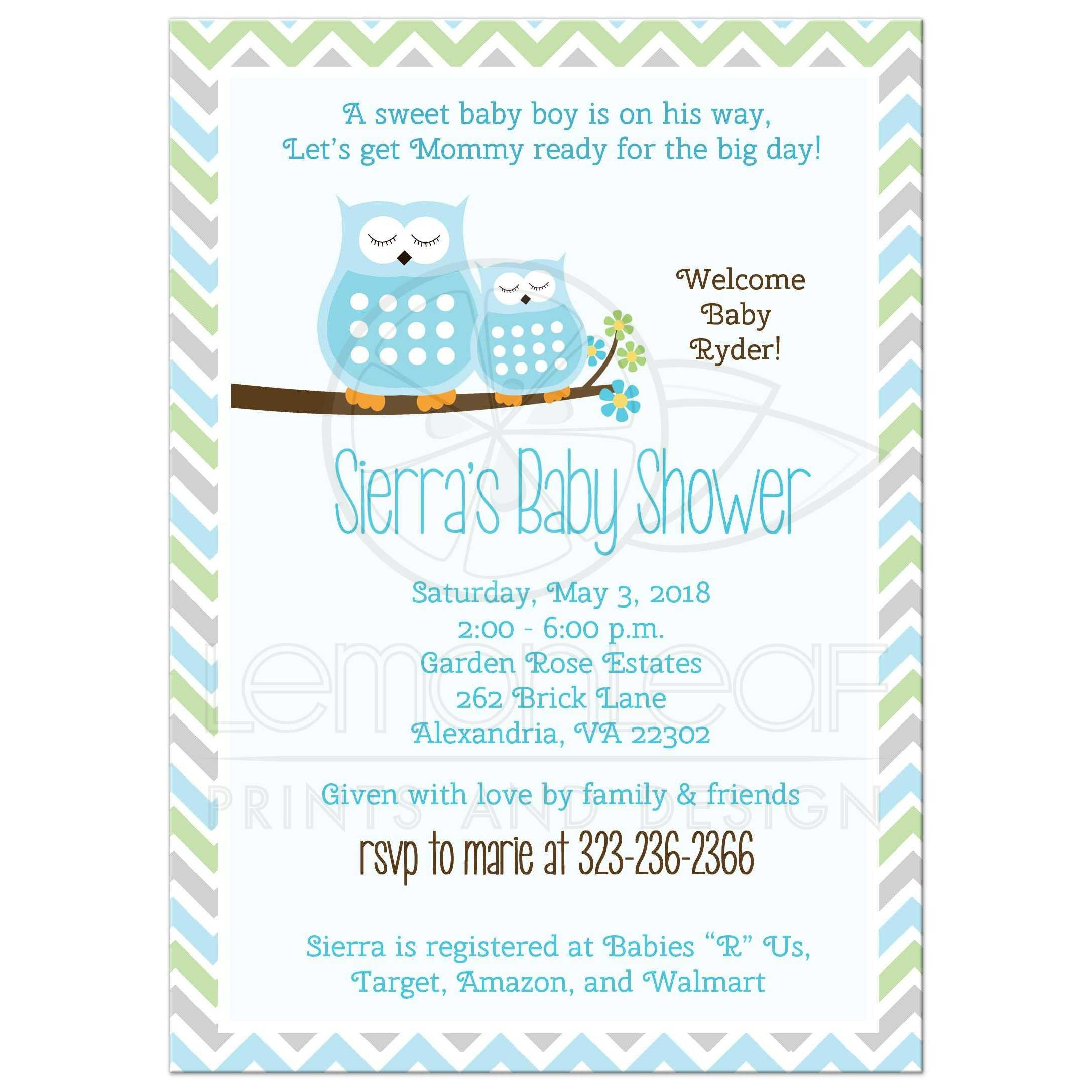Blue Owls Chevron Stripe Boy Baby Shower Invitations