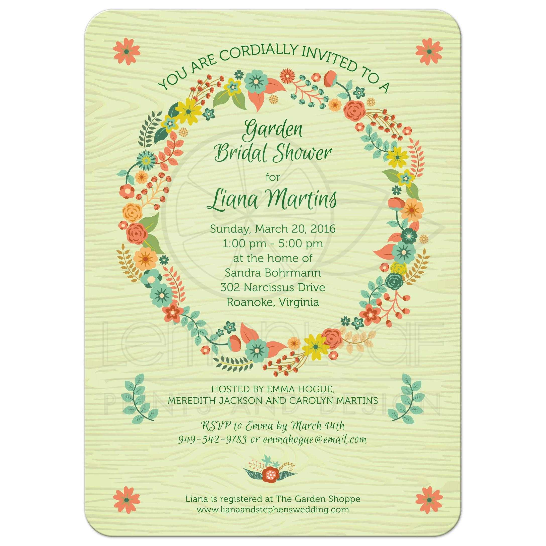 S 90 3 Green Bar Real >> Bridal Wedding Shower invitation - Rustic Green Floral Wreath
