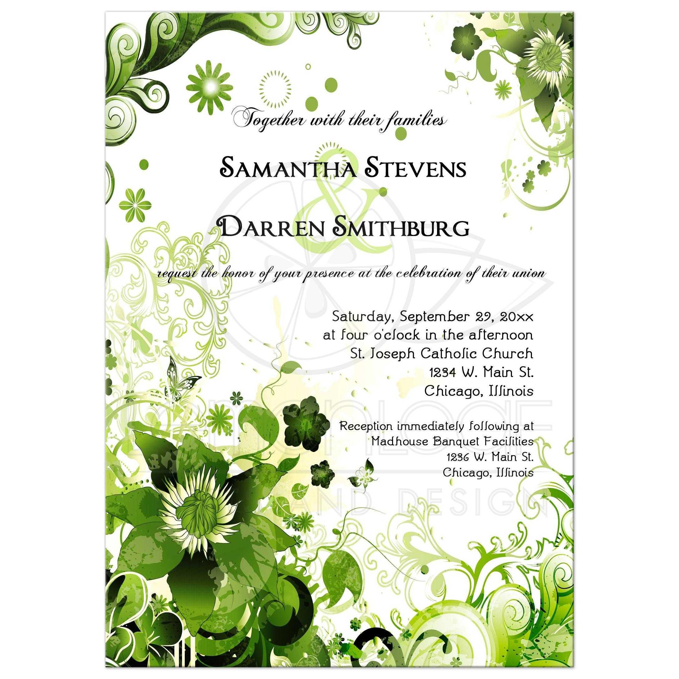 retro green floral wedding invitation