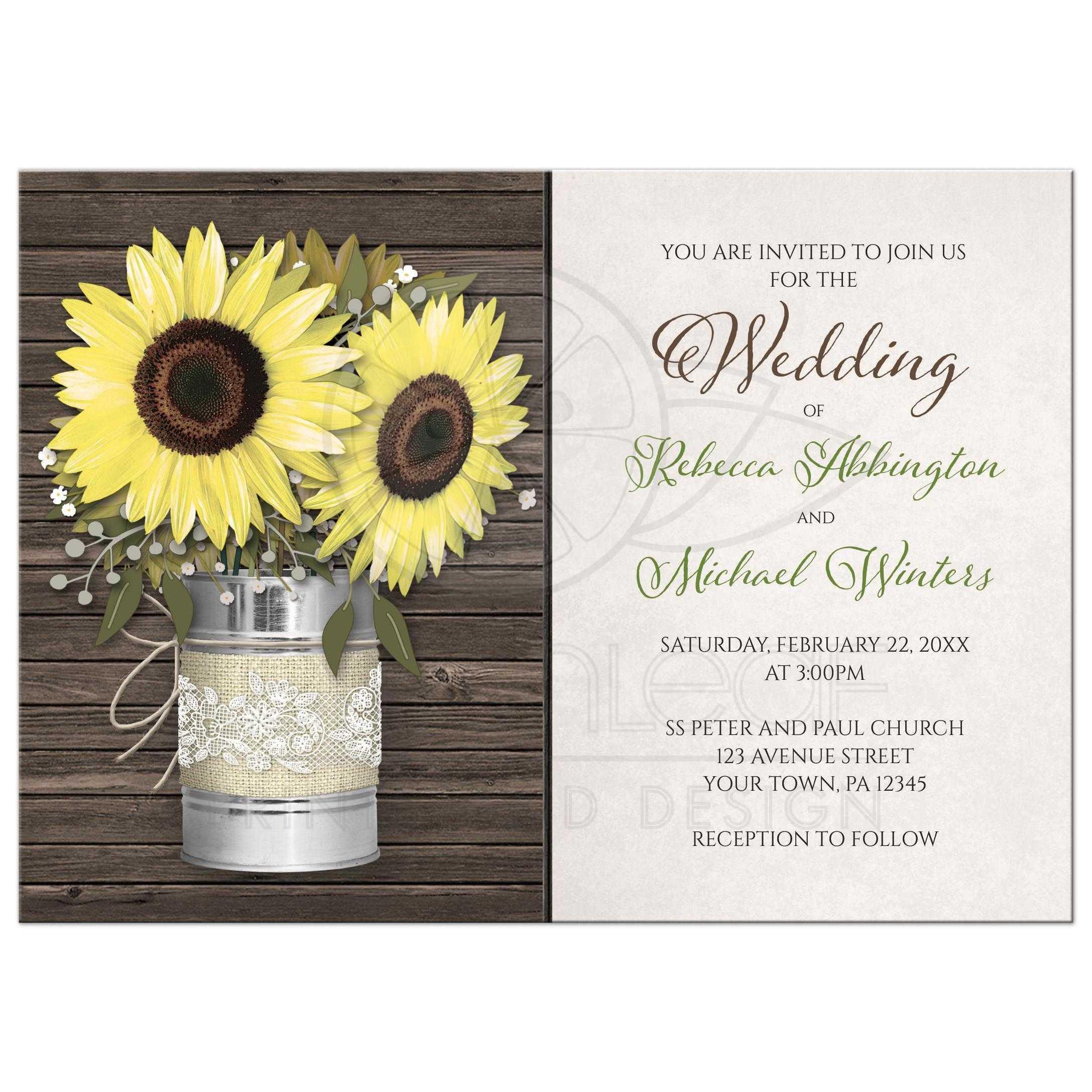 Wedding Invitations - Rustic Burlap & Lace Tin Can Sunflower