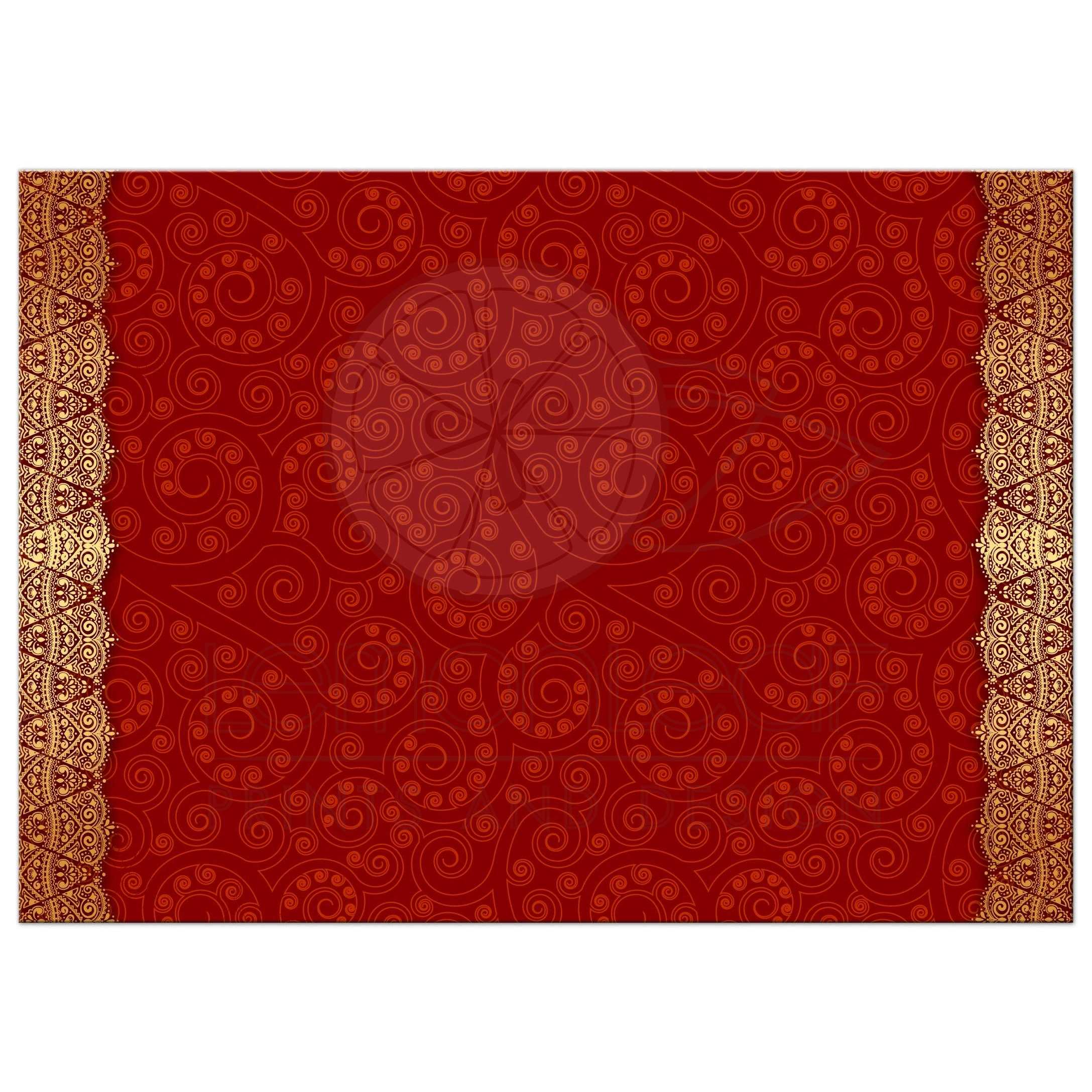 Wedding invitation - Crimson Indian Paisley Golden Gilded Edge