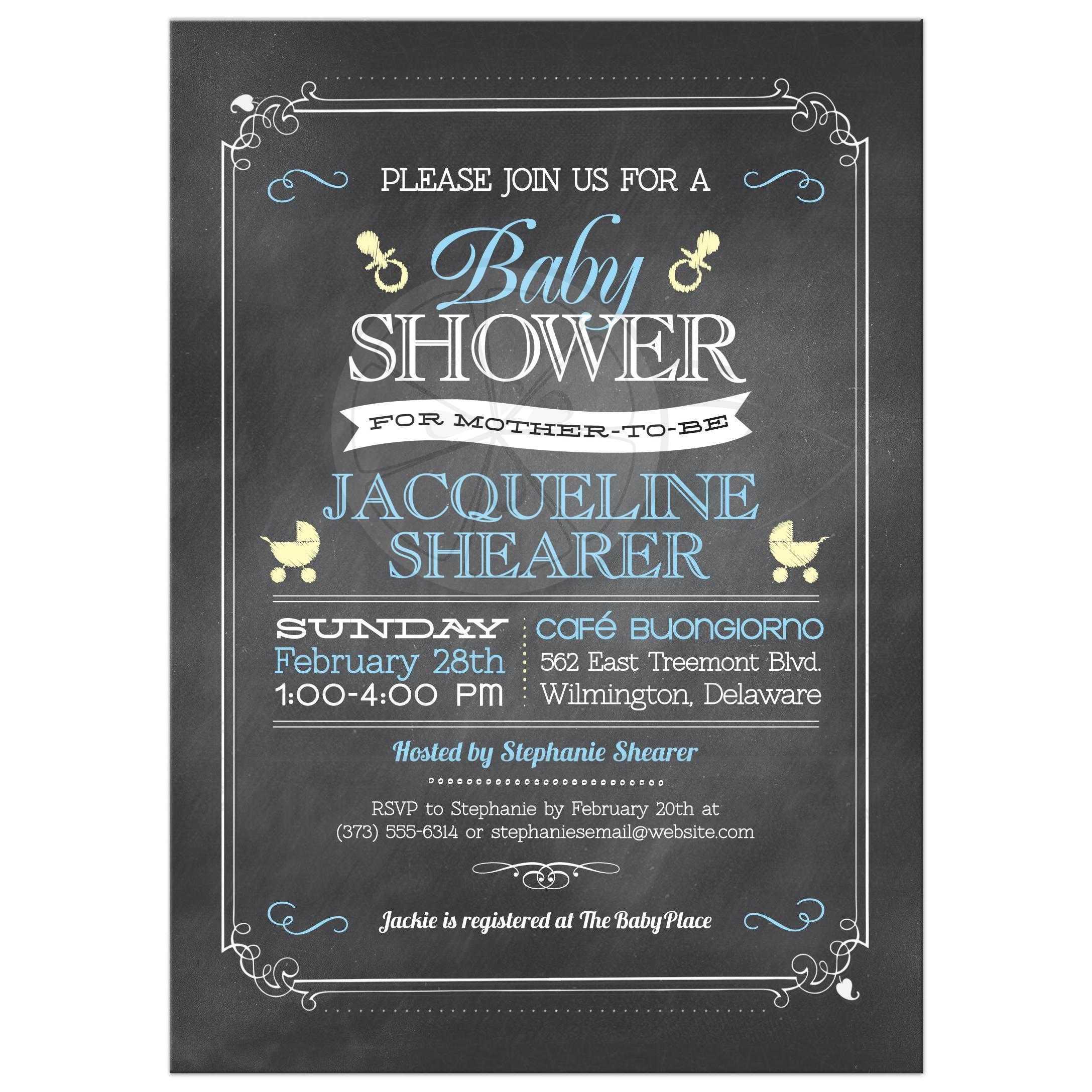 Baby shower invitation whimsical chalkboard blue whimsical chalkboard blue baby shower invitation filmwisefo