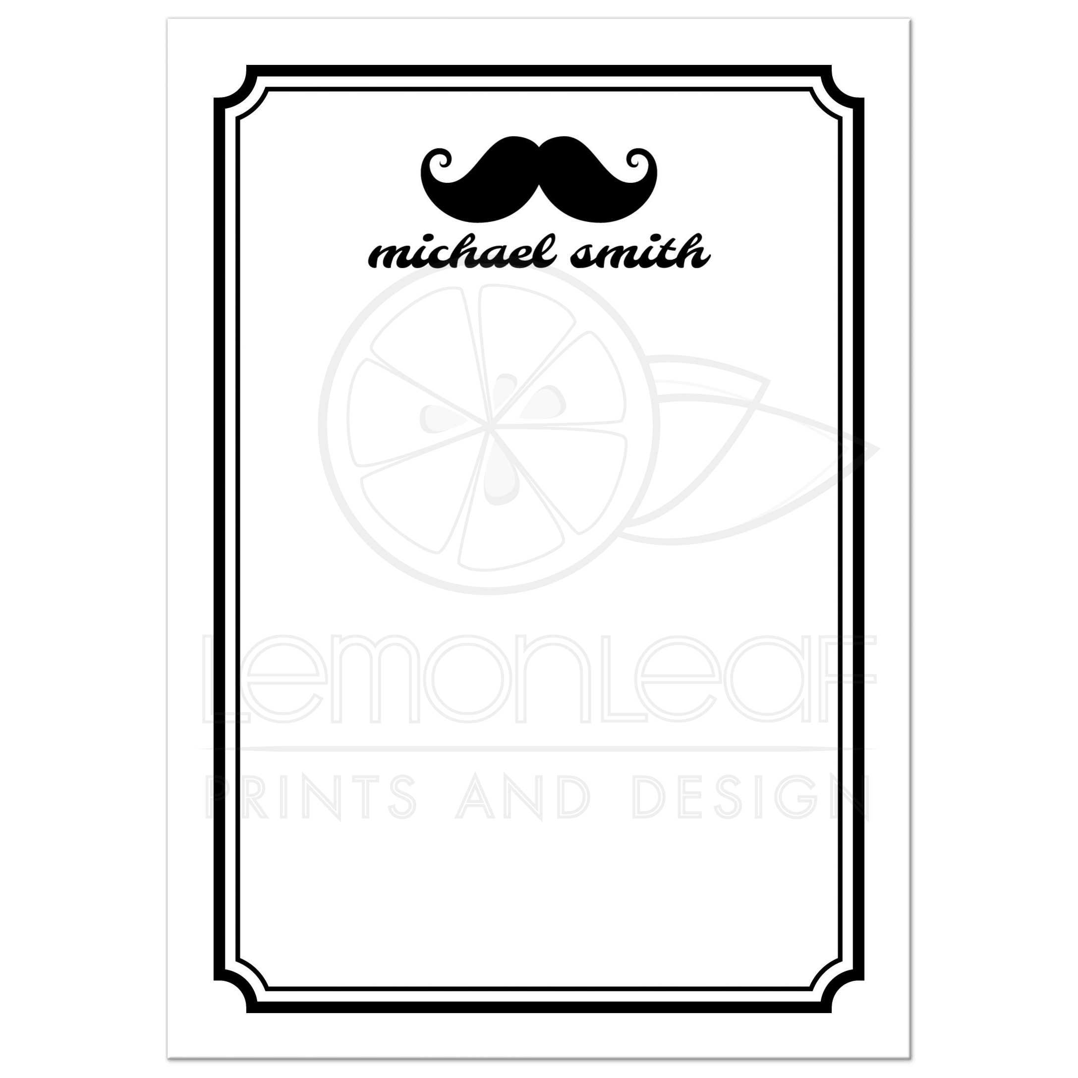 hipster mustaches black and white personalized flat note card - Personalized Flat Note Cards