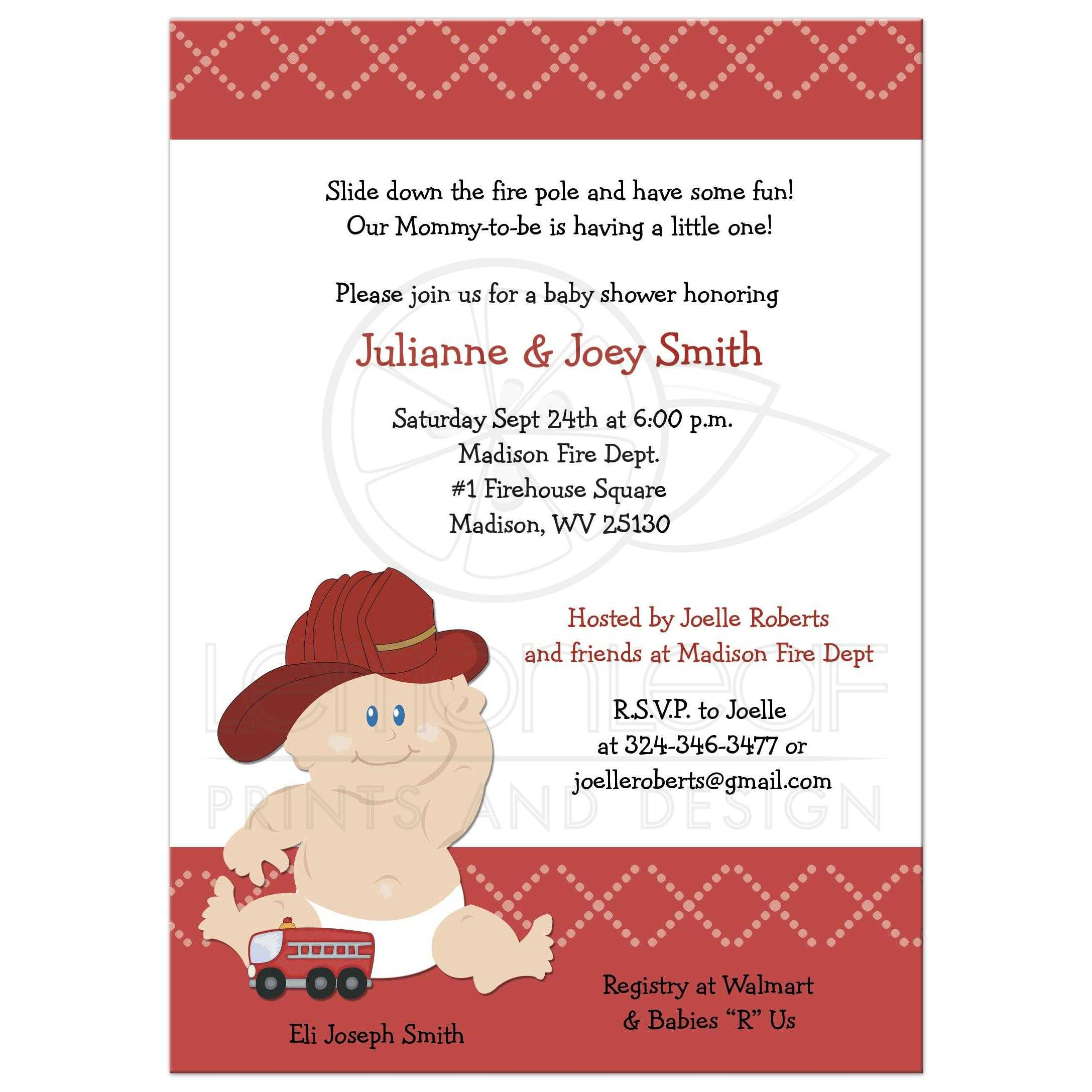 Baby Firefighter Fire Truck Baby Shower Invitation