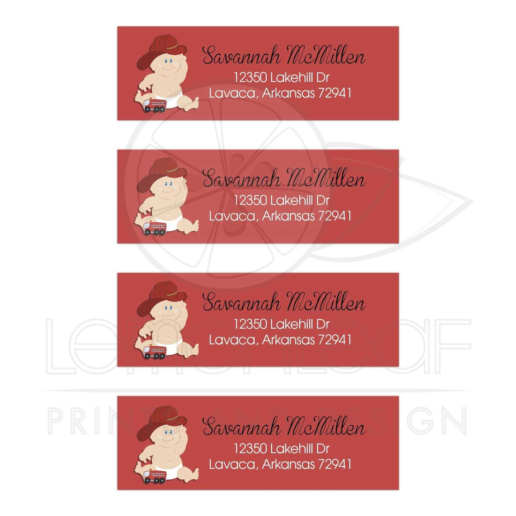 Baby Firefighter Customized Mailing Return Address Labels