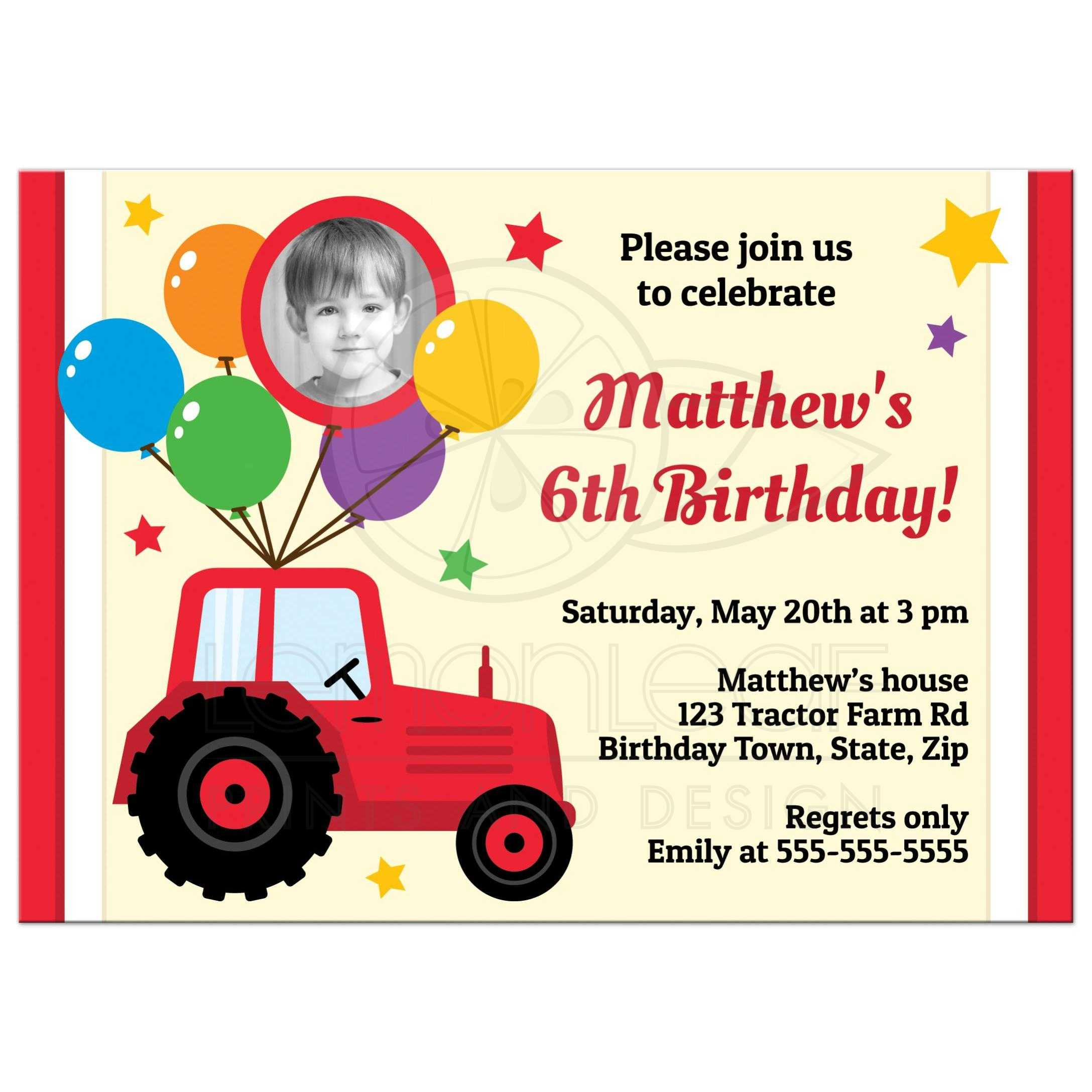 Farm birthday party invite with red tractor, balloons and custom photo