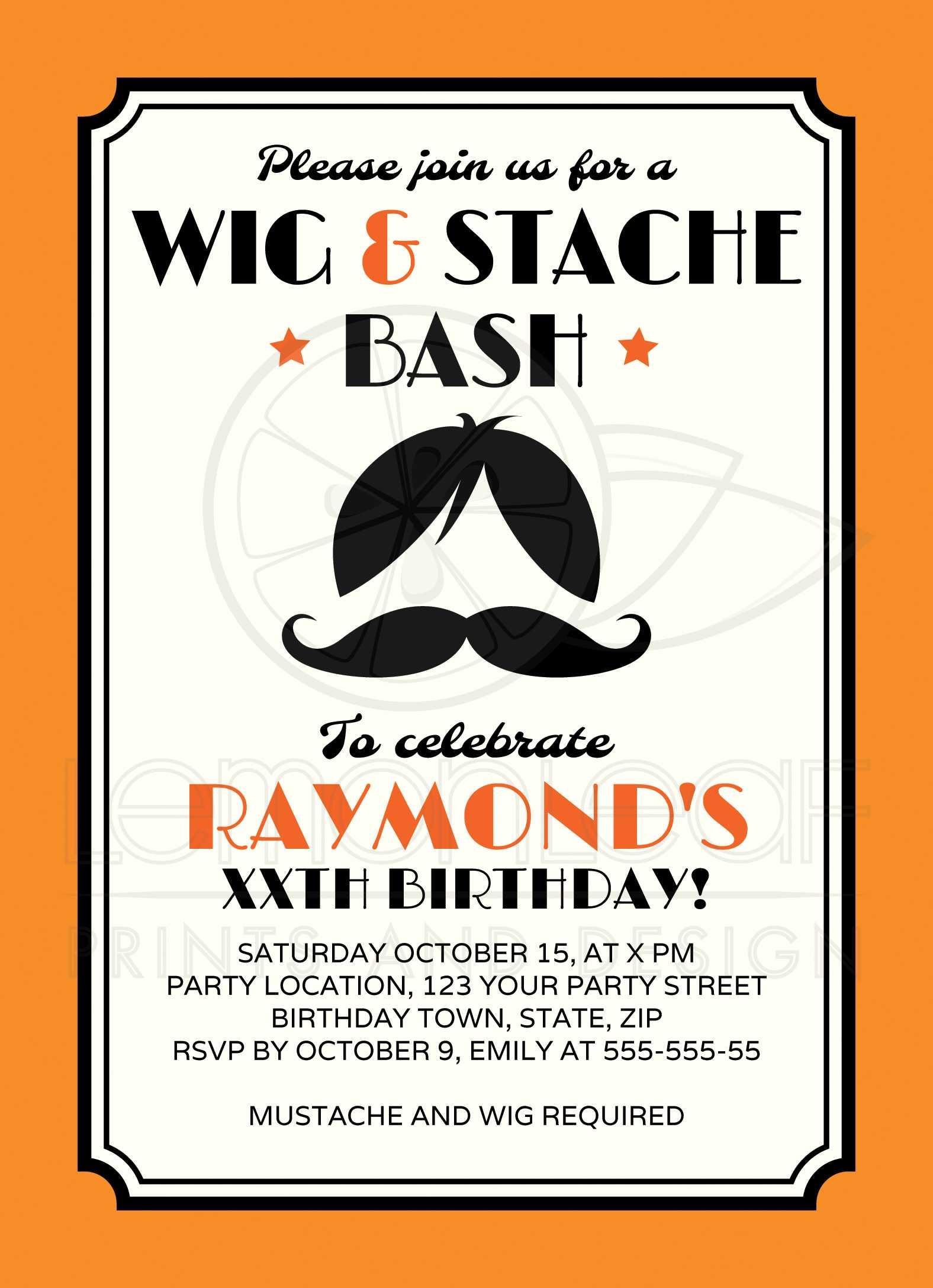 Retro wig and mustache bash birthday party invitation - orange, black