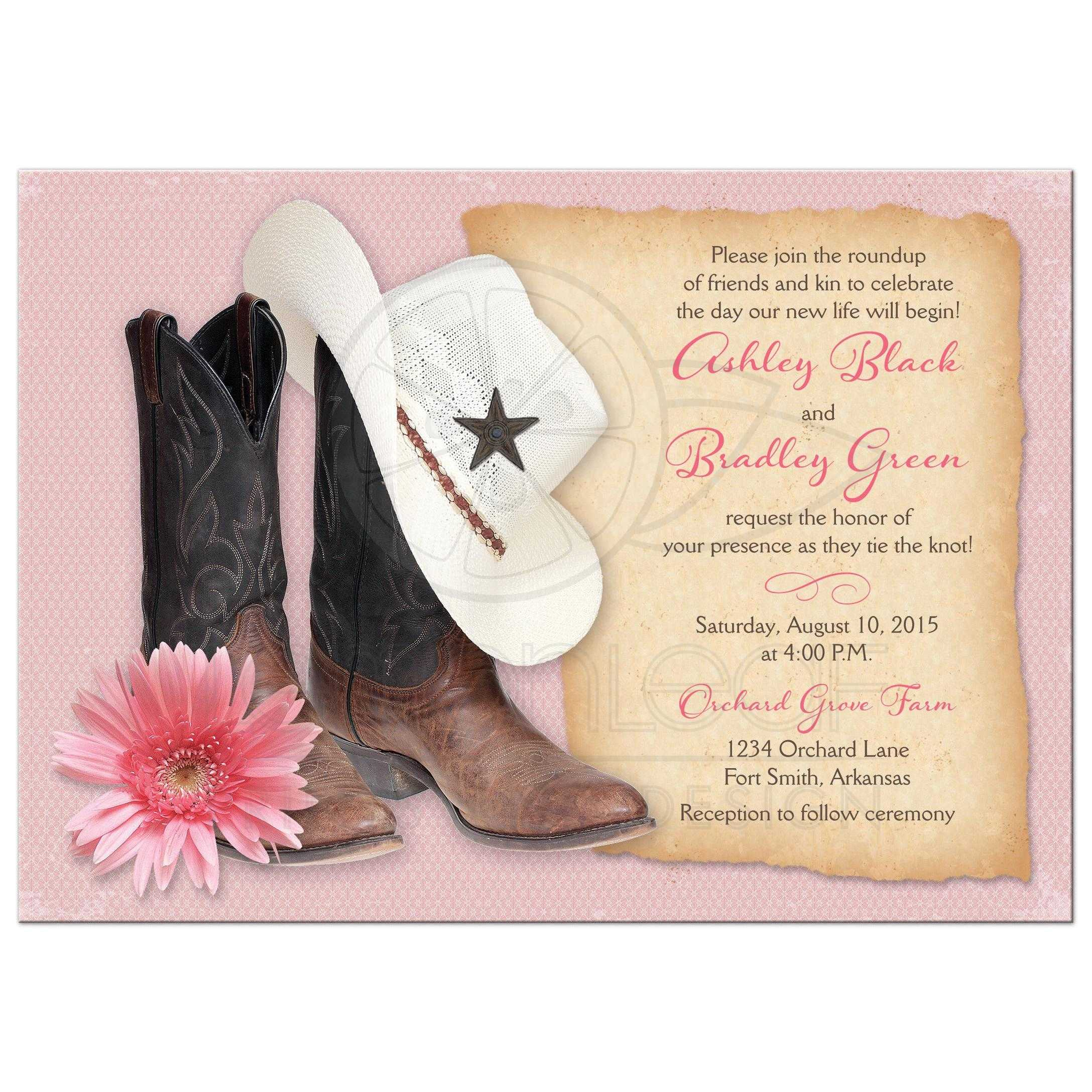 Western Wedding Invitations Cowboy Boots Hat Pink Daisy