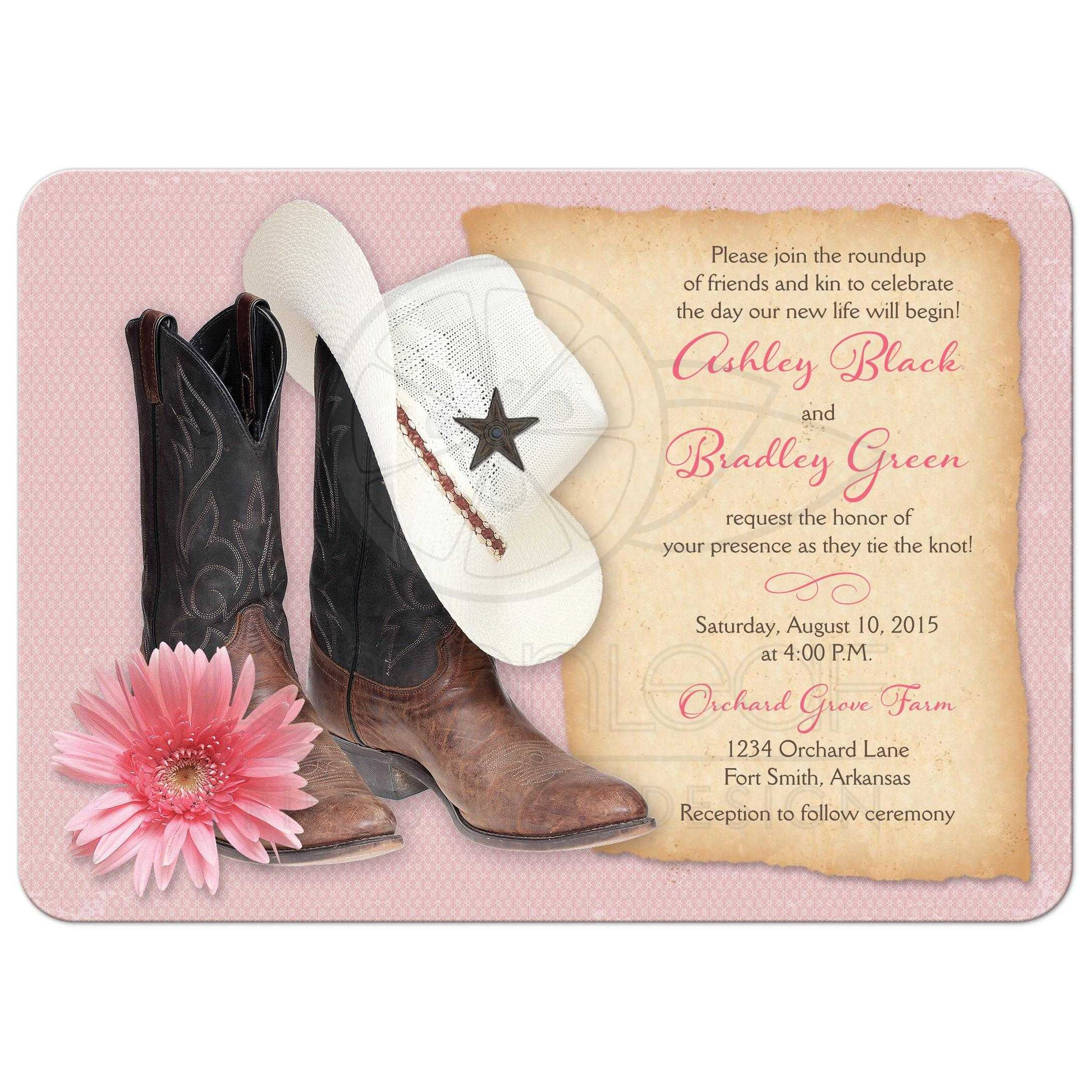 Cowboy Cowgirl Wedding Ideas: Western Wedding Invitations Cowboy Boots Hat Pink Daisy