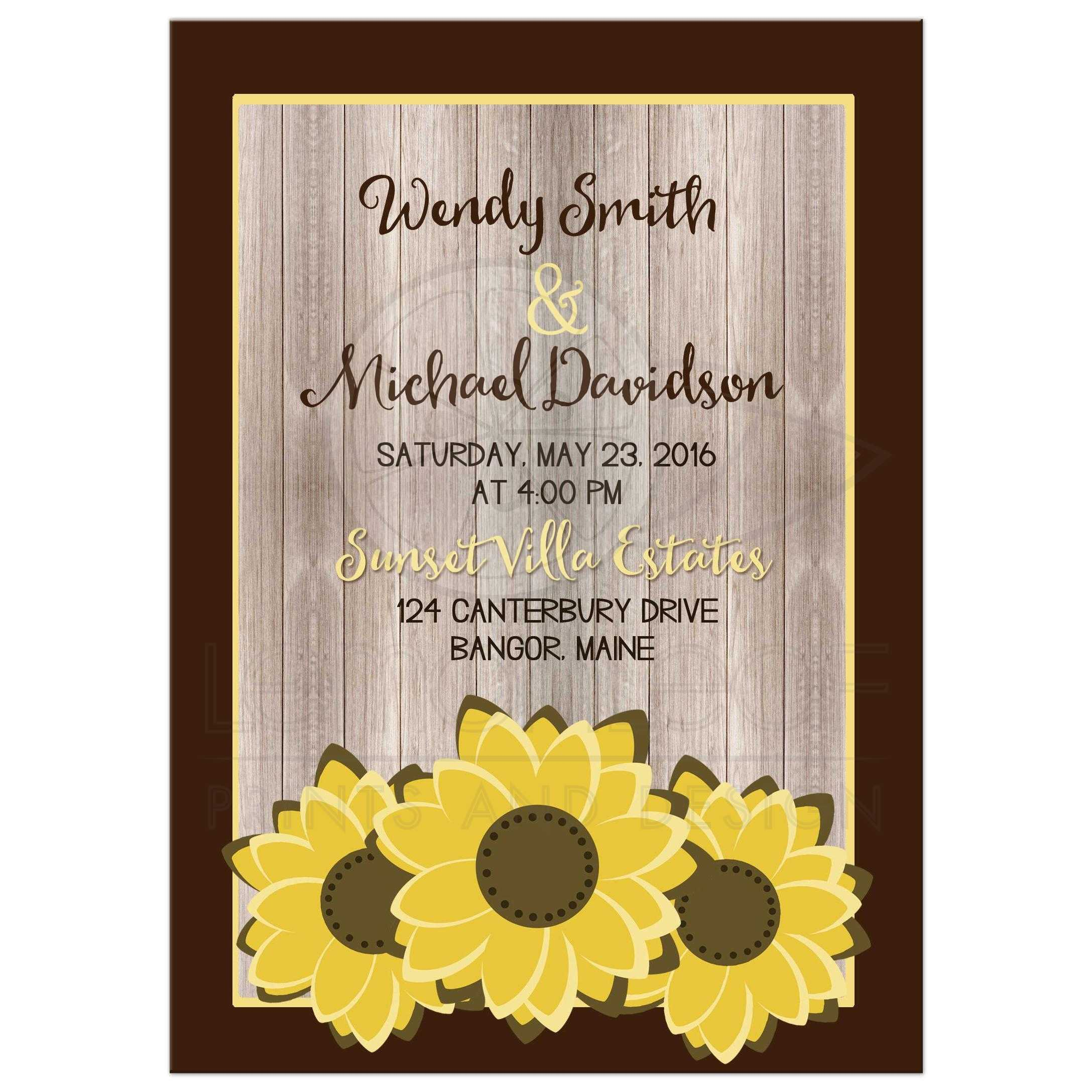 Wedding Invitation Whimsical Rustic Sunflower