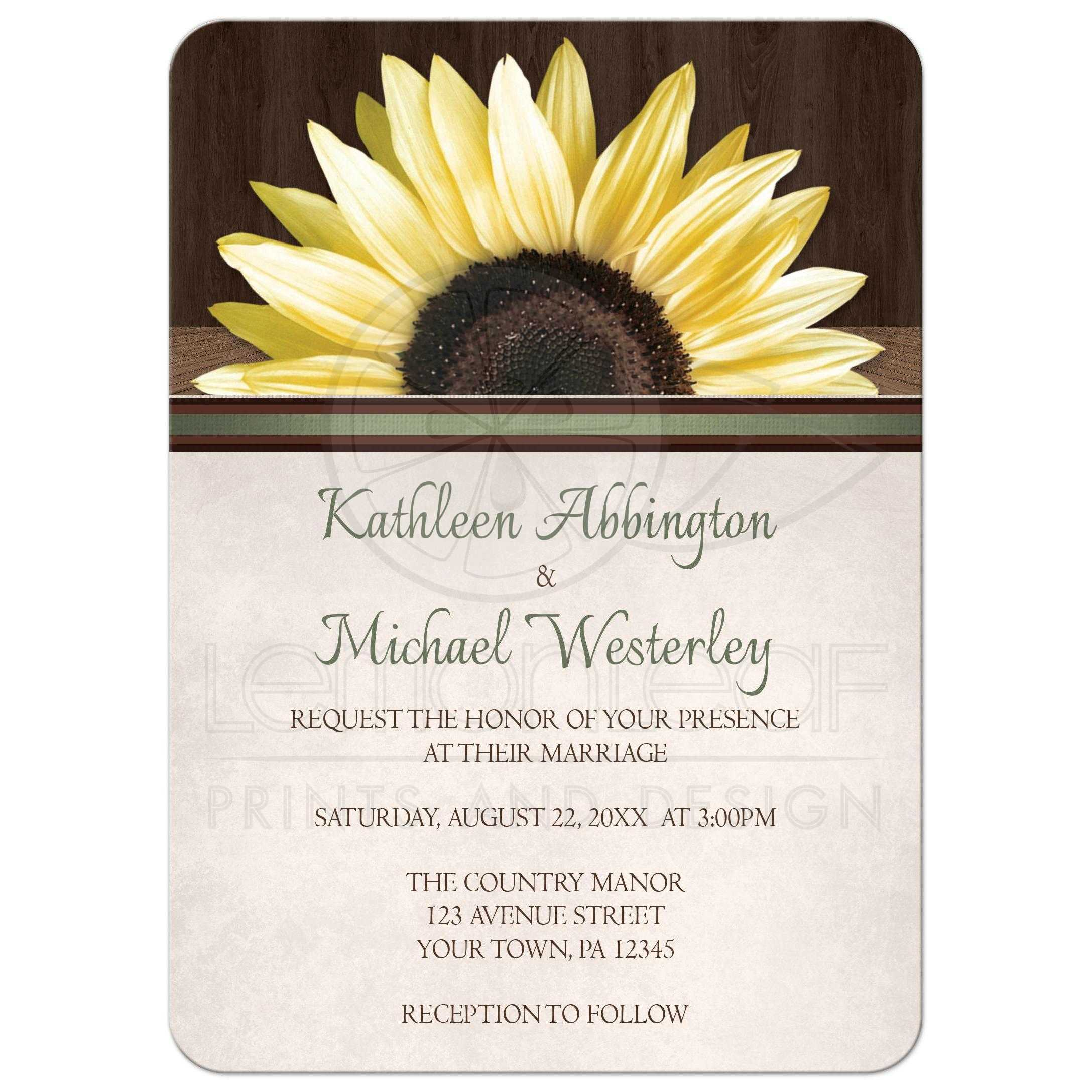 Invitations Country Sunflower Over Wood Rustic - Sunflower wedding invitations templates