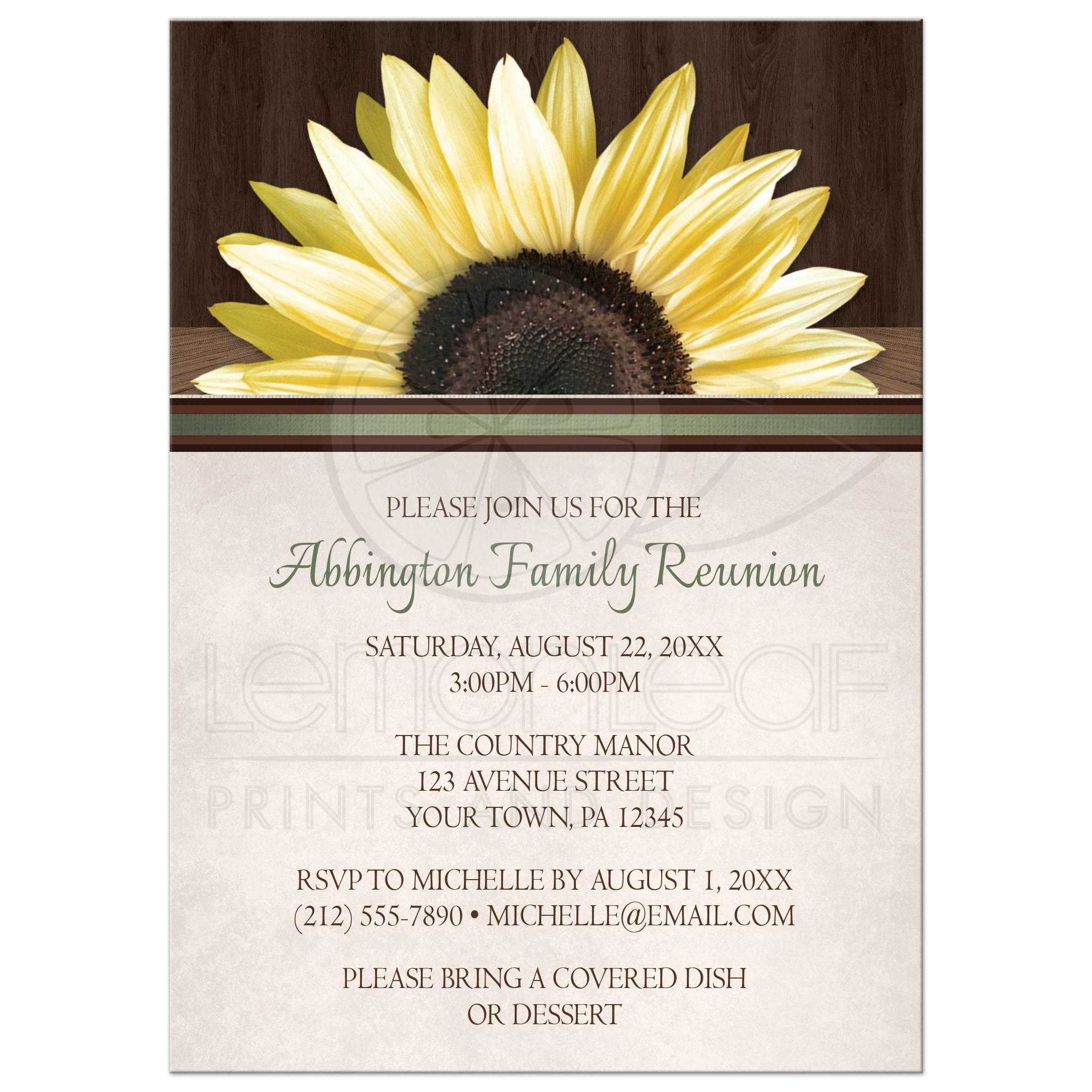 family reunion invitations country sunflower over wood