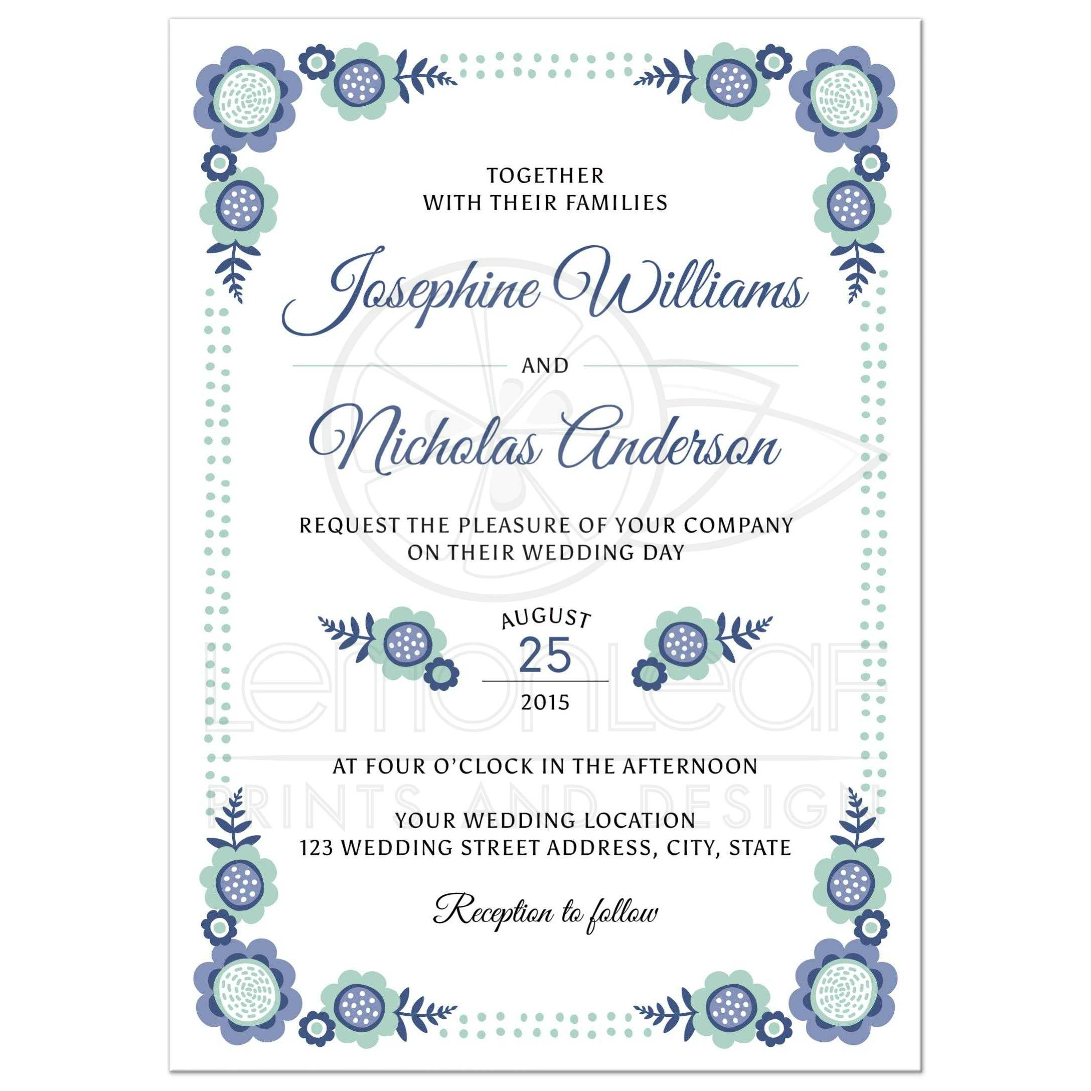 Blue bloom wedding invitation with cute, whimsical flower corners