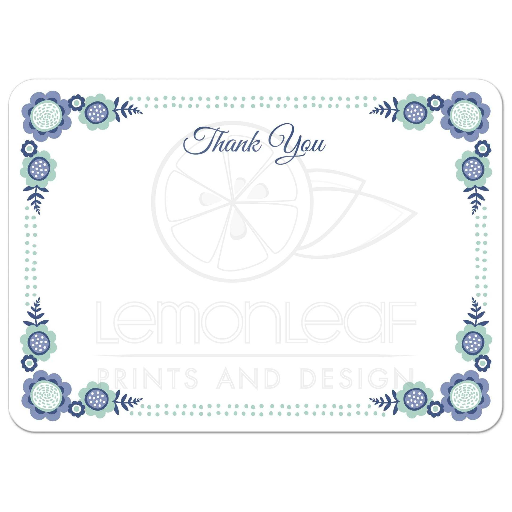 cute and elegant flat thank you note card with decorative floral corners - Thank You Note Cards