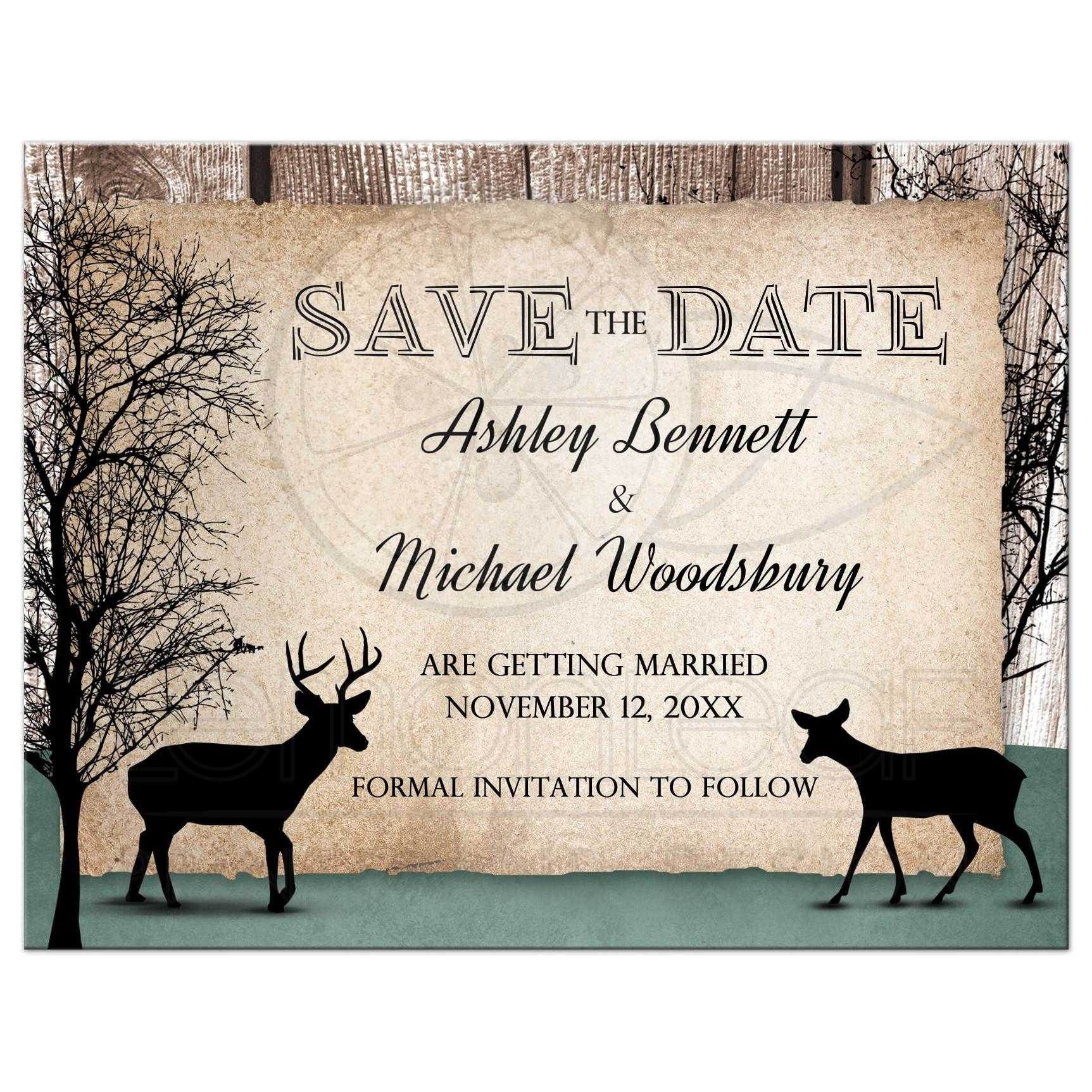 save the date cards deer rustic woodsy