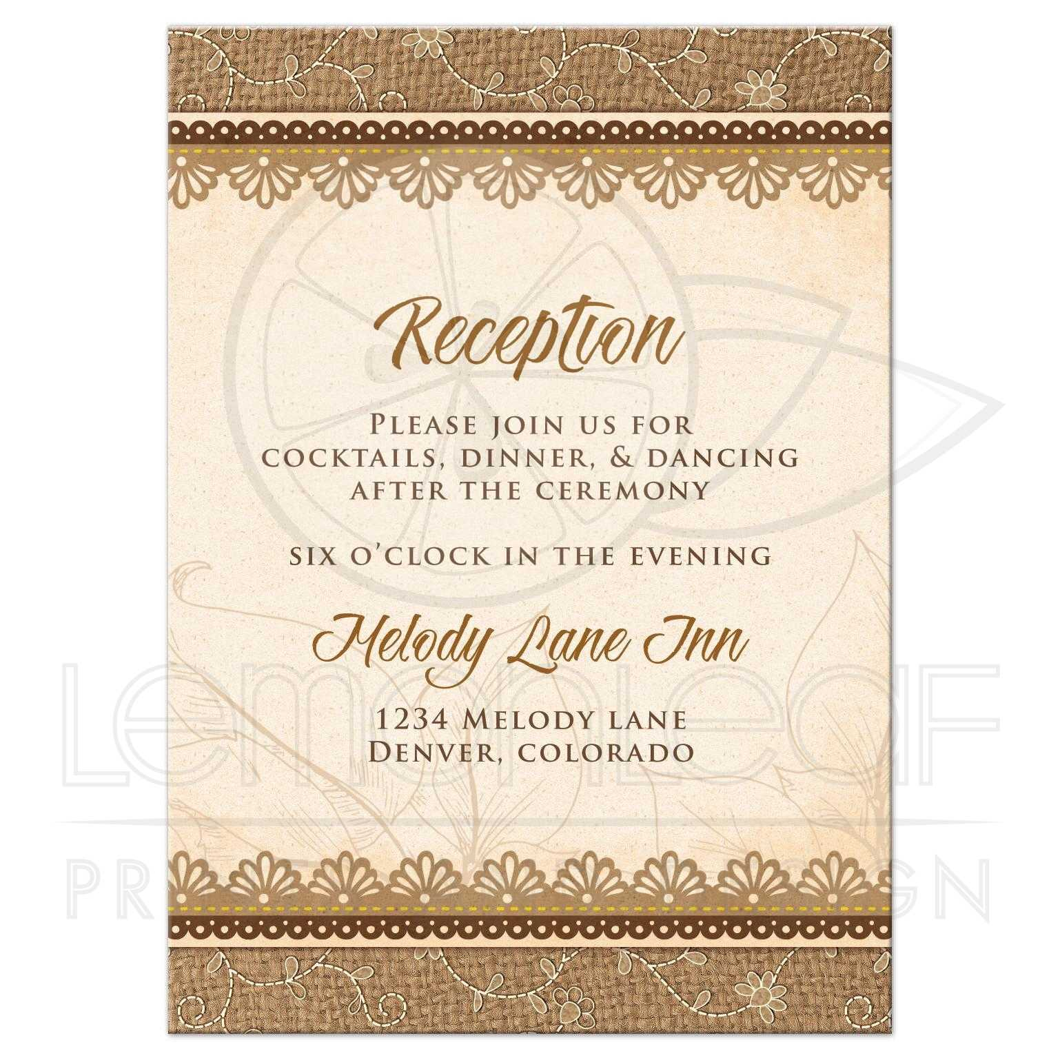 Awesome Elegant Rustic Burlap And Lace Wedding Reception Insert Card Front ... Amazing Design