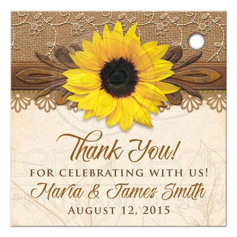Sunflower Wedding Favor Ideas: Rustic Sunflower Personalized Wedding Favor Tags Burlap