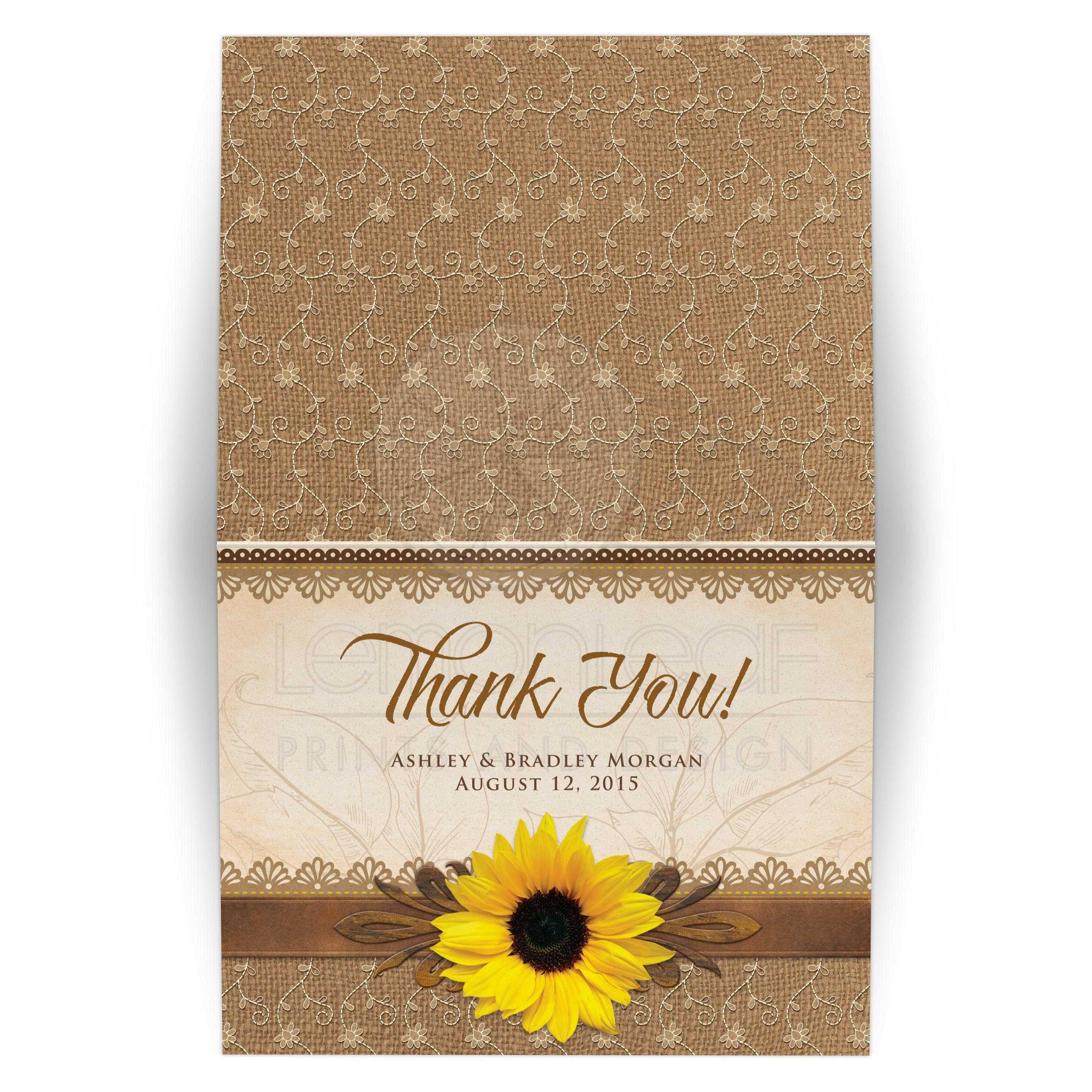 Rustic Sunflower Wedding Thank You Card Burlap Lace Wood
