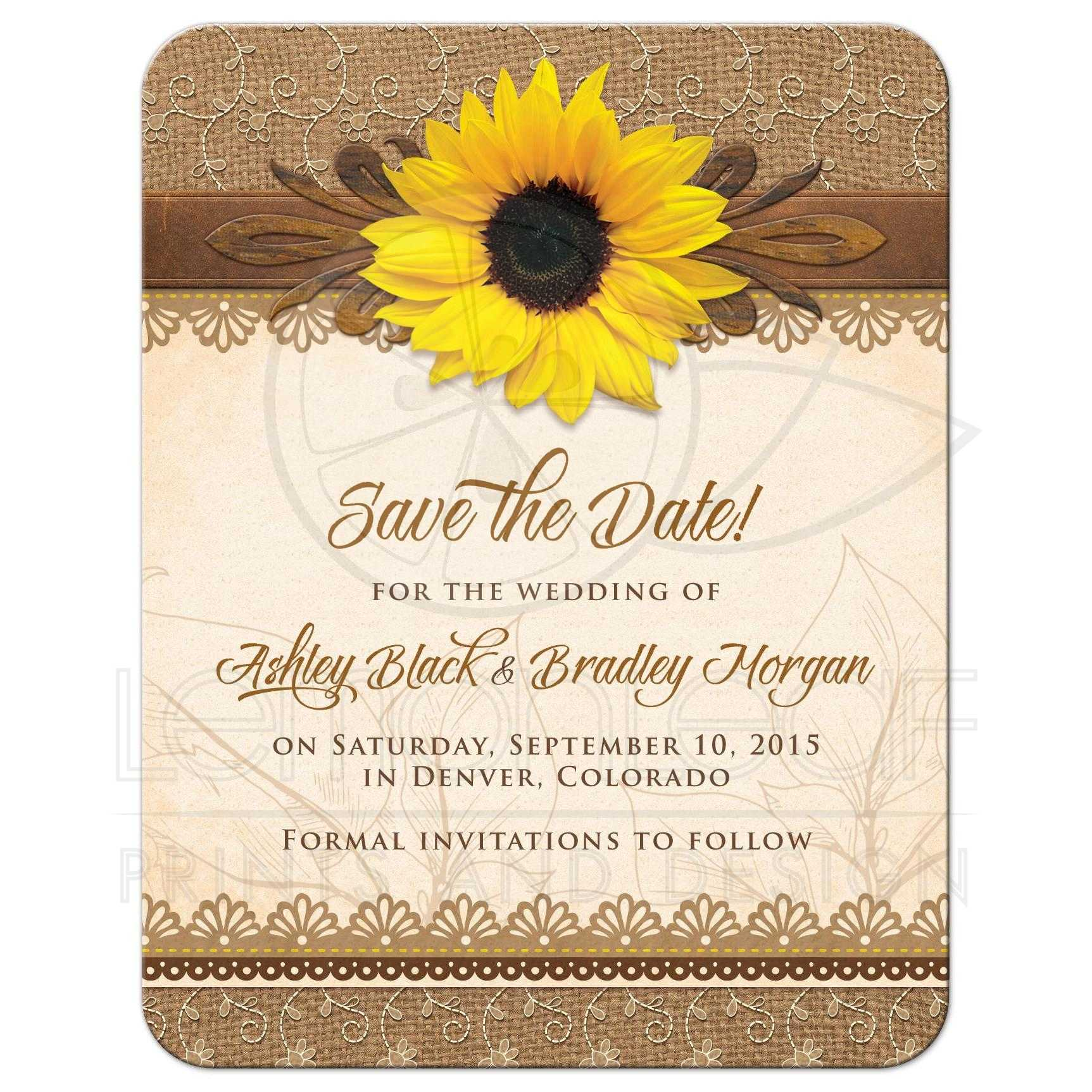 Wedding Save The Date Rustic Sunflower Burlap Lace Wood