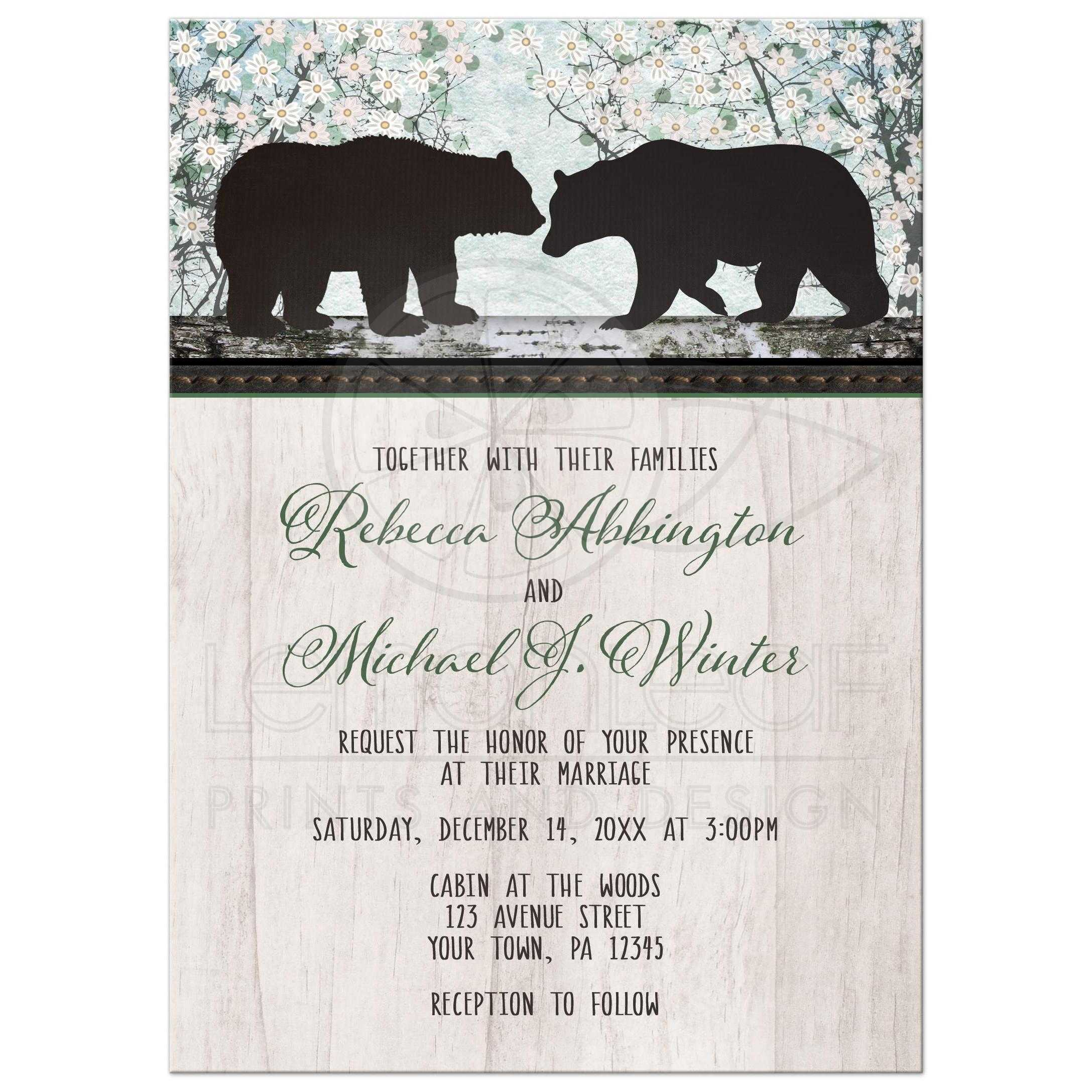 Wedding Invitations - Rustic Bear Floral Wood
