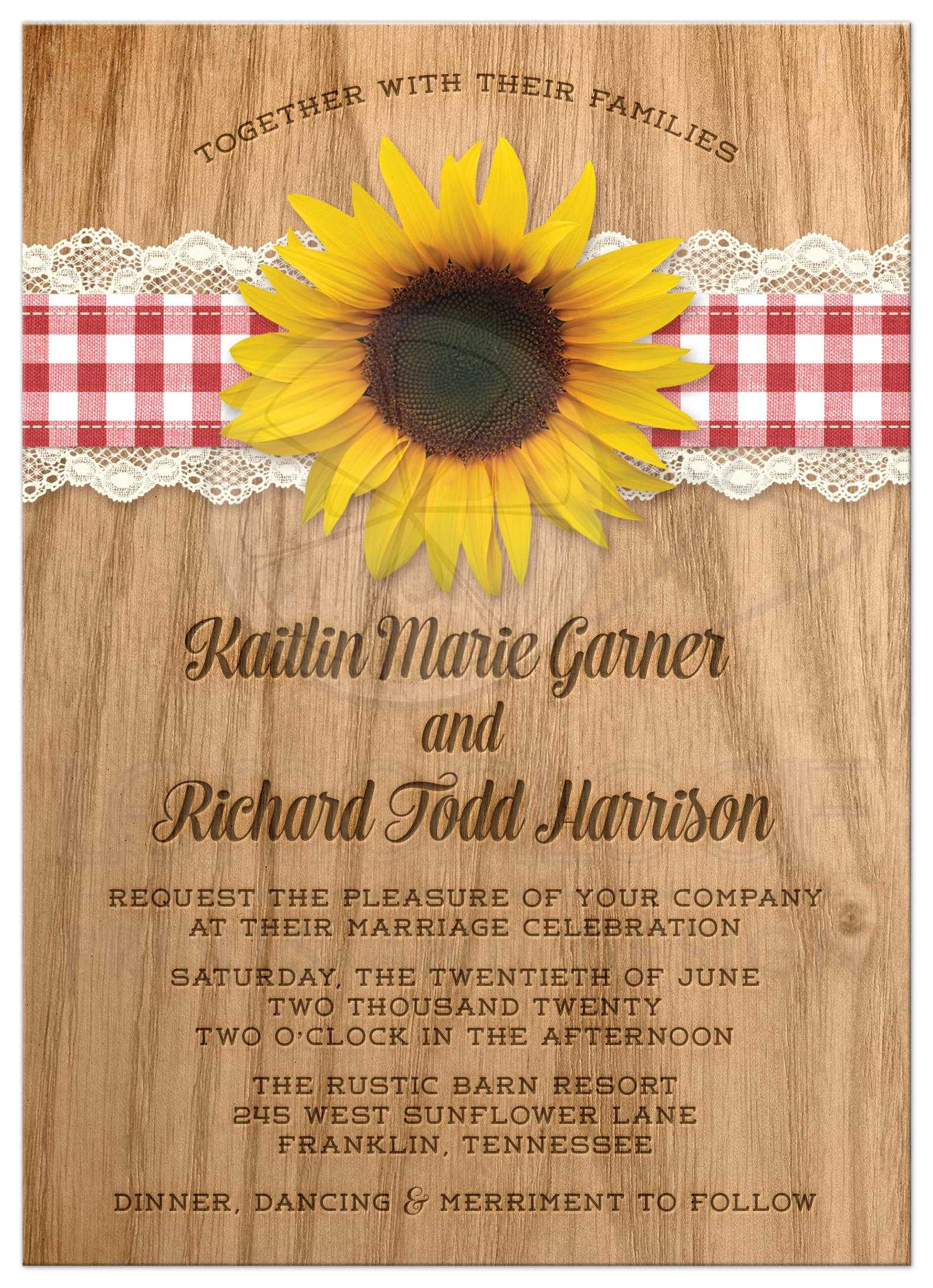 Wedding Invitations Rustic Gingham Lace Sunflower - Sunflower wedding invitations templates