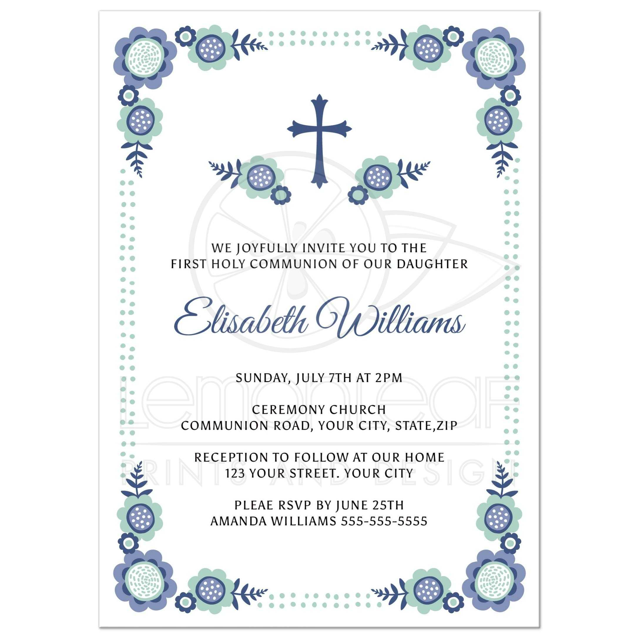 Blue bloom First Holy Communion invitation with cute flower corners